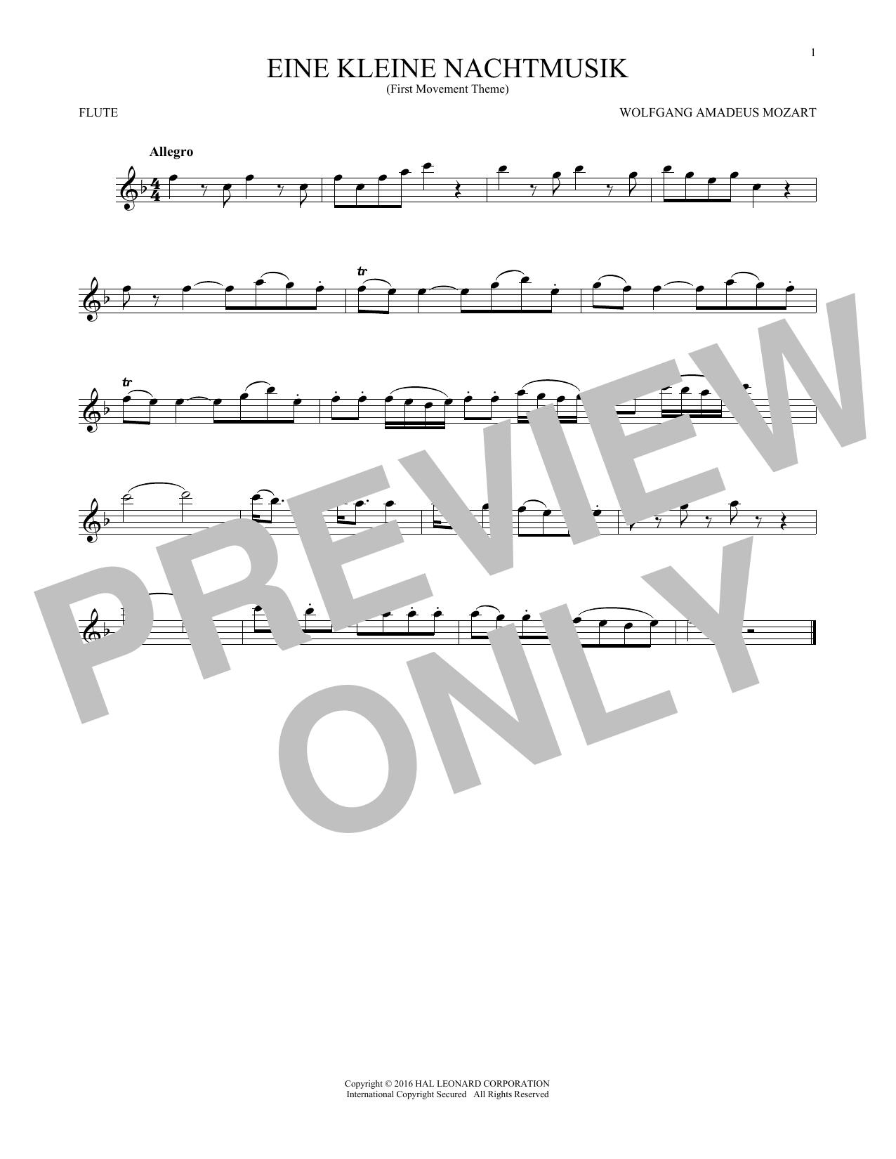 """Eine Kleine Nachtmusik (""""Serenade""""), First Movement Excerpt (Flute Solo)"""