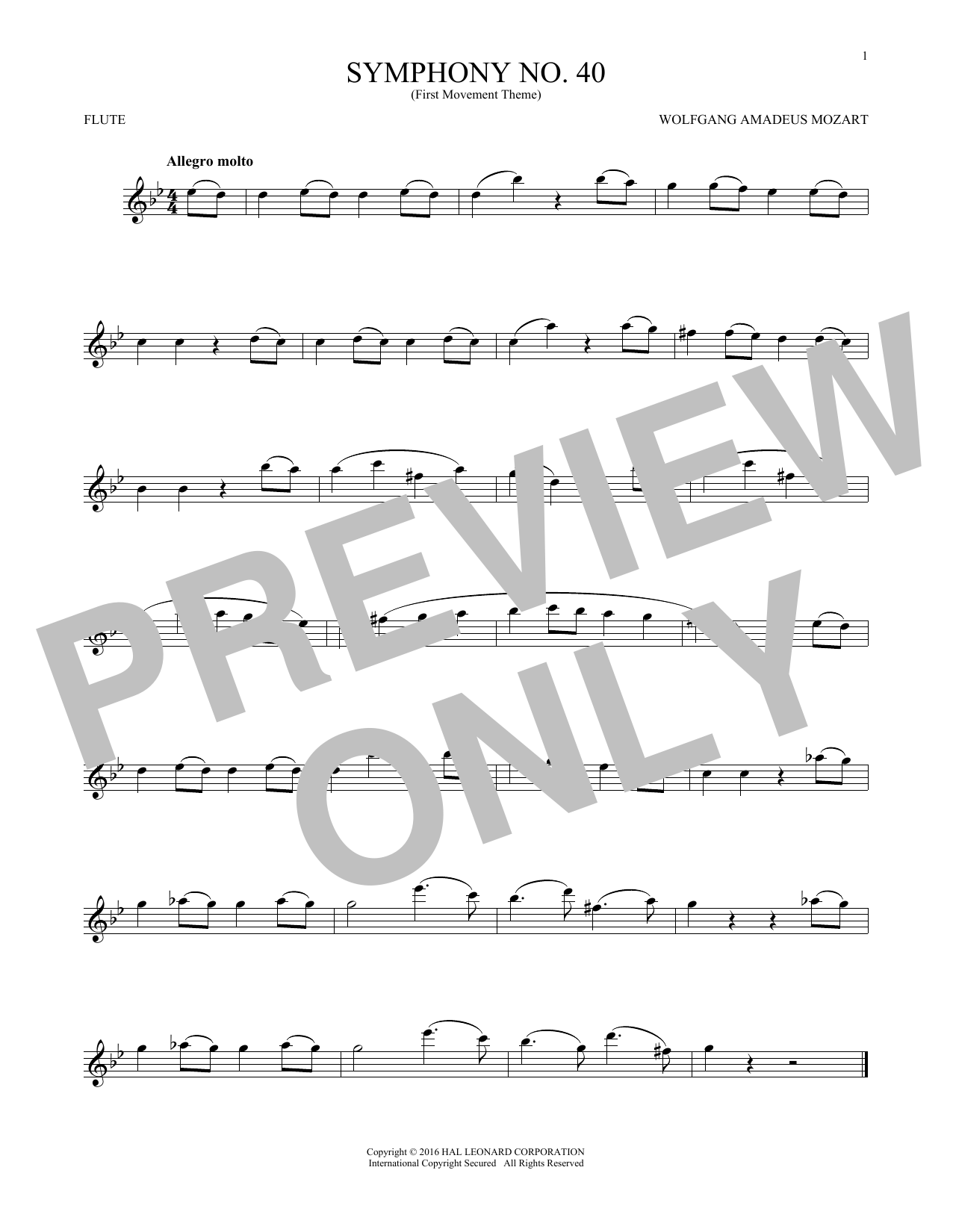Symphony No. 40 In G Minor, First Movement Excerpt (Flute Solo)