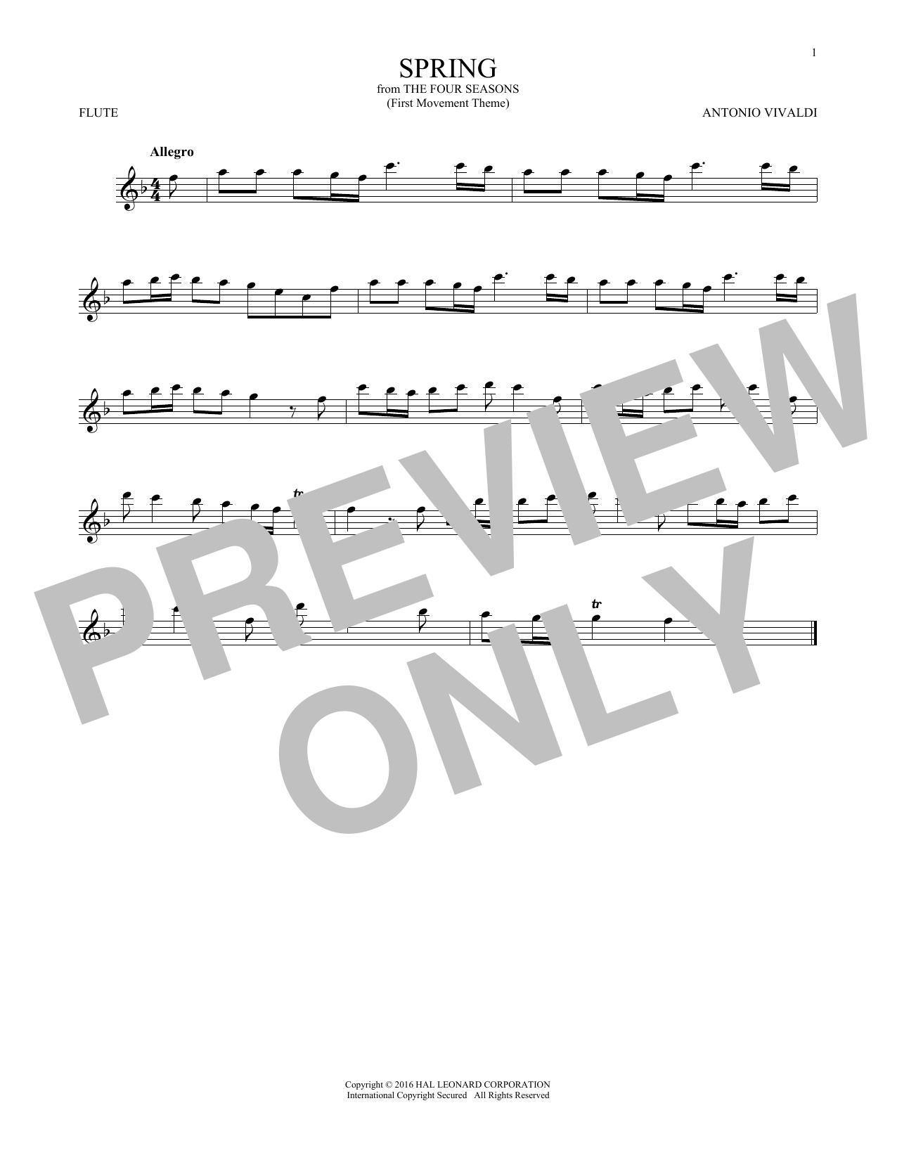 "Partition flûte Allegro I, RV 269 (""Spring"") de Antonio Vivaldi - Flute traversiere"