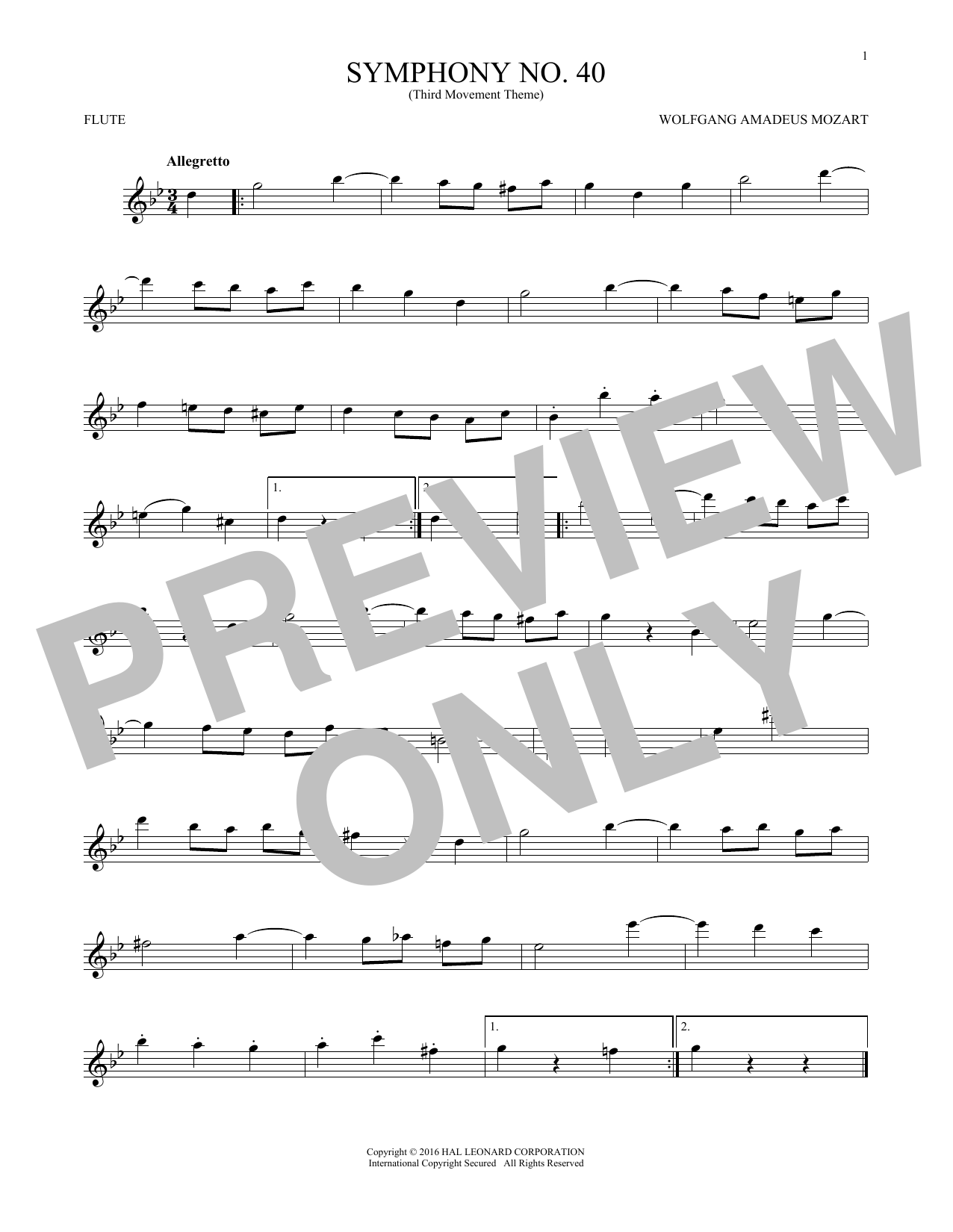 """Symphony No. 40 In G Minor, Third Movement (""""Minuet"""") (Flute Solo)"""