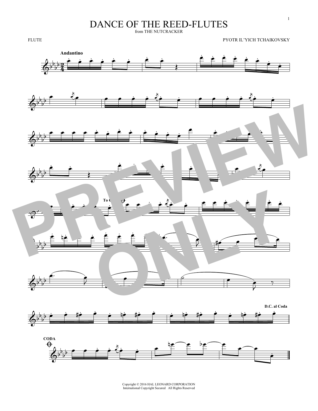 Dance Of The Reed Flutes, Op. 71a (Flute Solo)