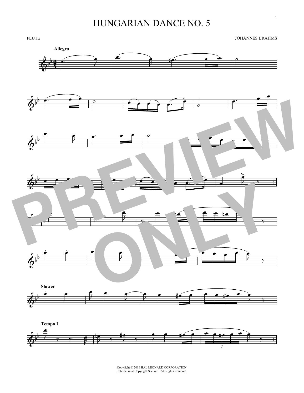 Hungarian Dance No. 5 (Flute Solo)