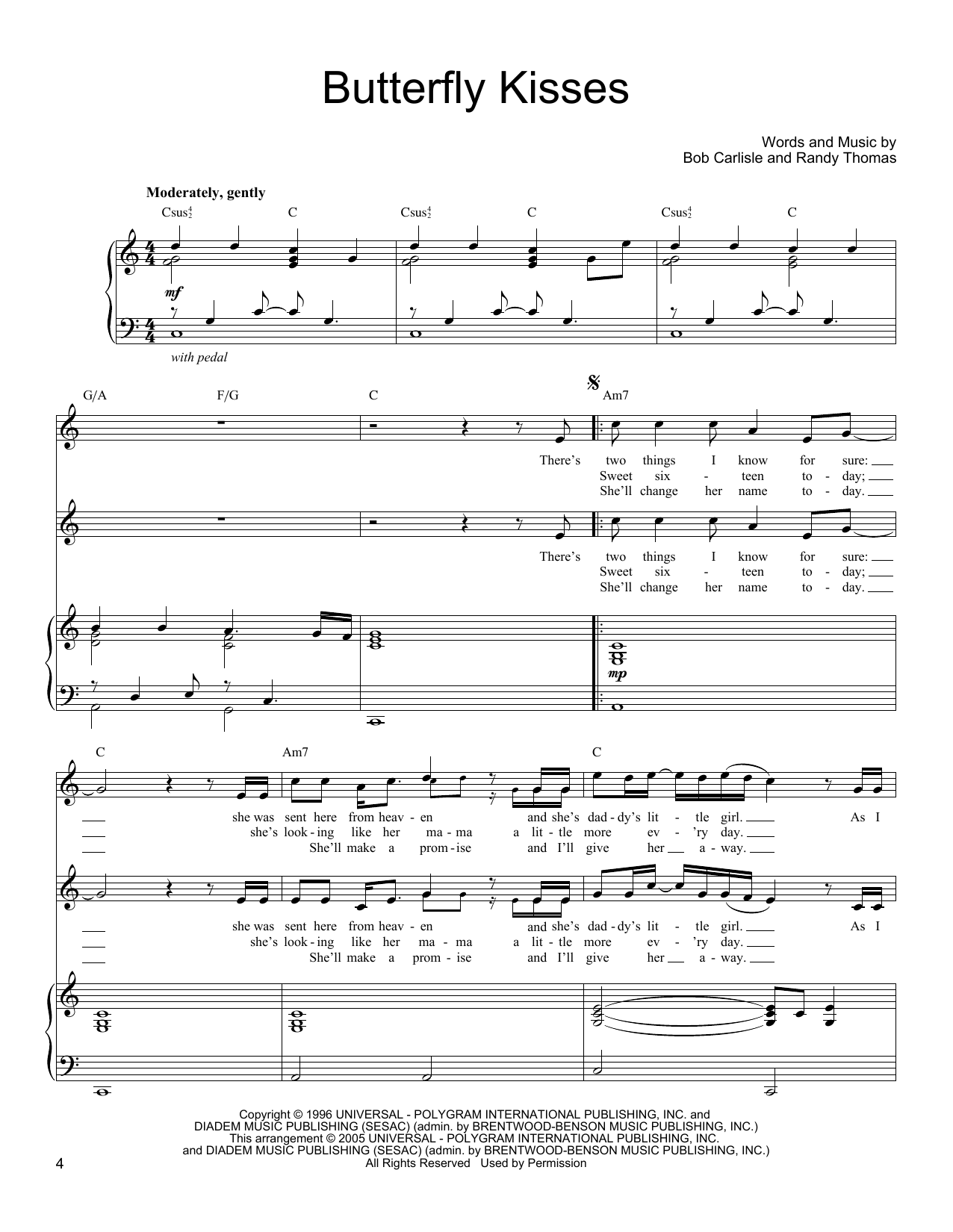Butterfly Kisses Sheet Music