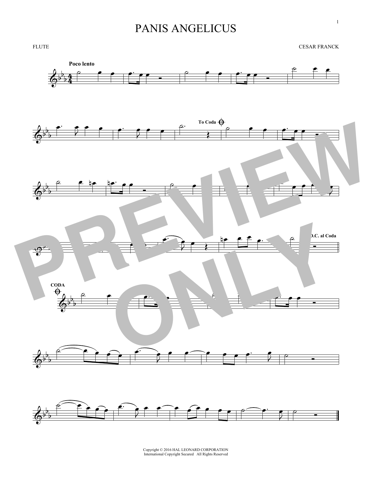 Panis Angelicus (O Lord Most Holy) (Flute Solo)