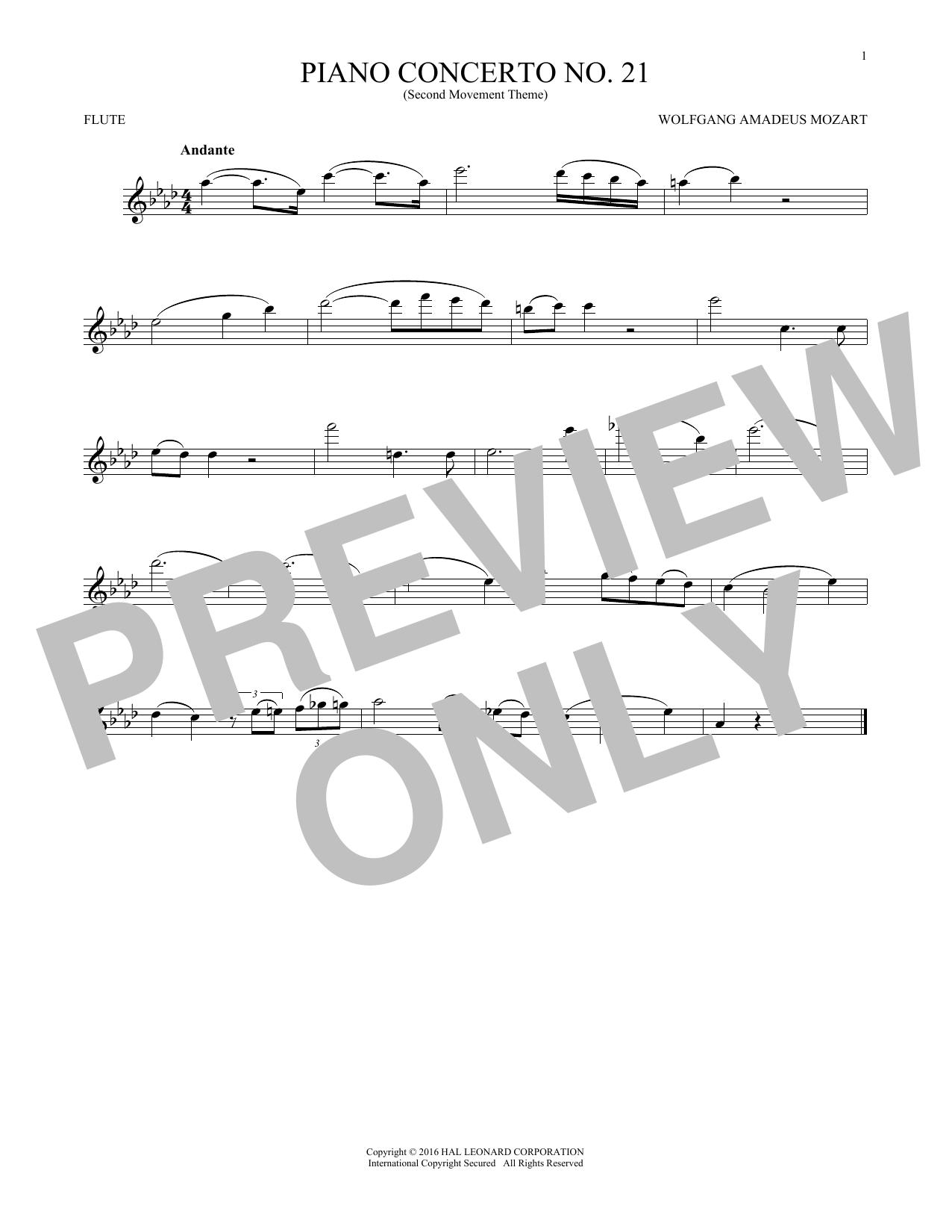 "Piano Concerto No. 21 In C Major (""Elvira Madigan""), Second Movement Excerpt (Flute Solo)"