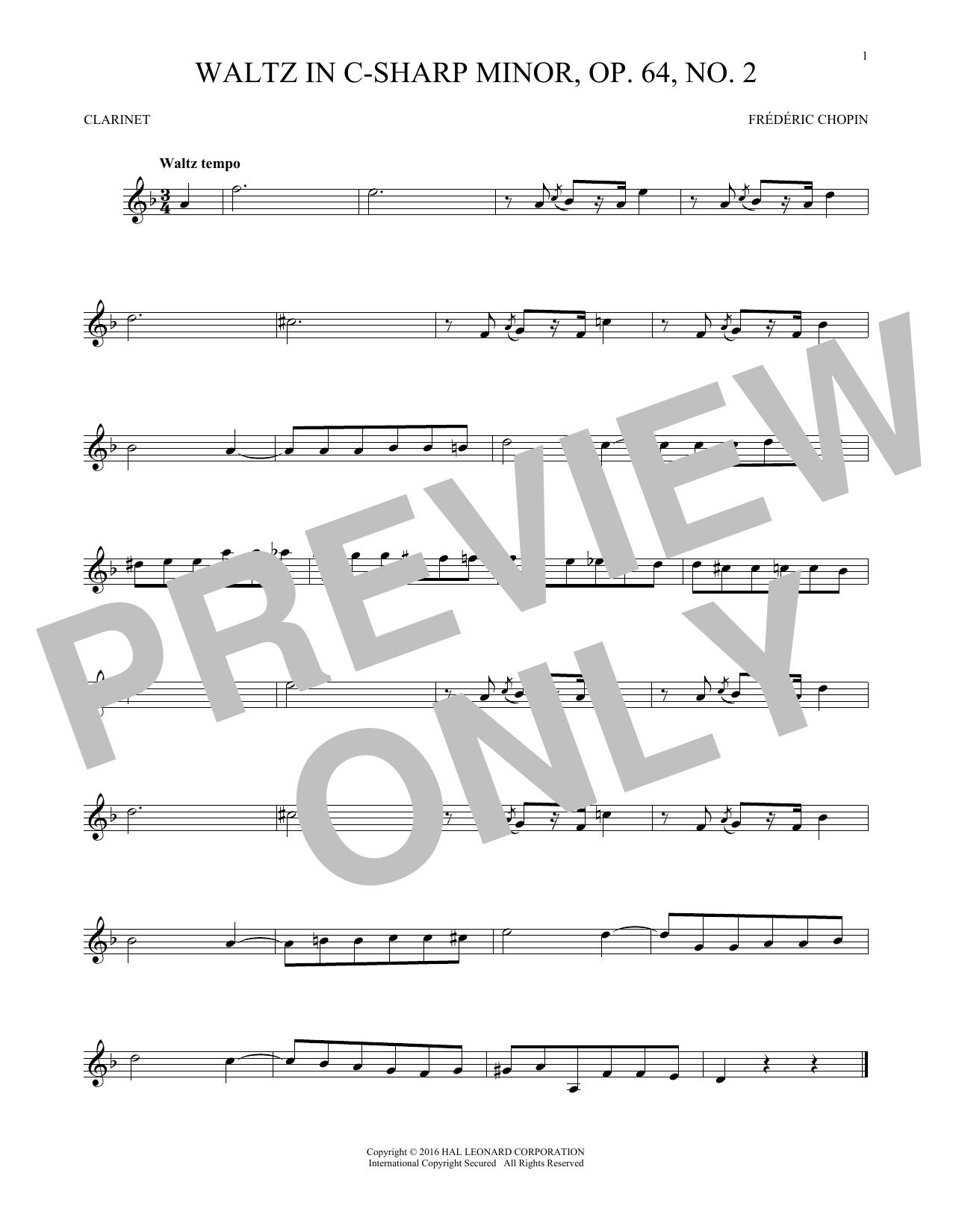 Waltz In C-Sharp Minor, Op. 64, No. 2 (Clarinet Solo)