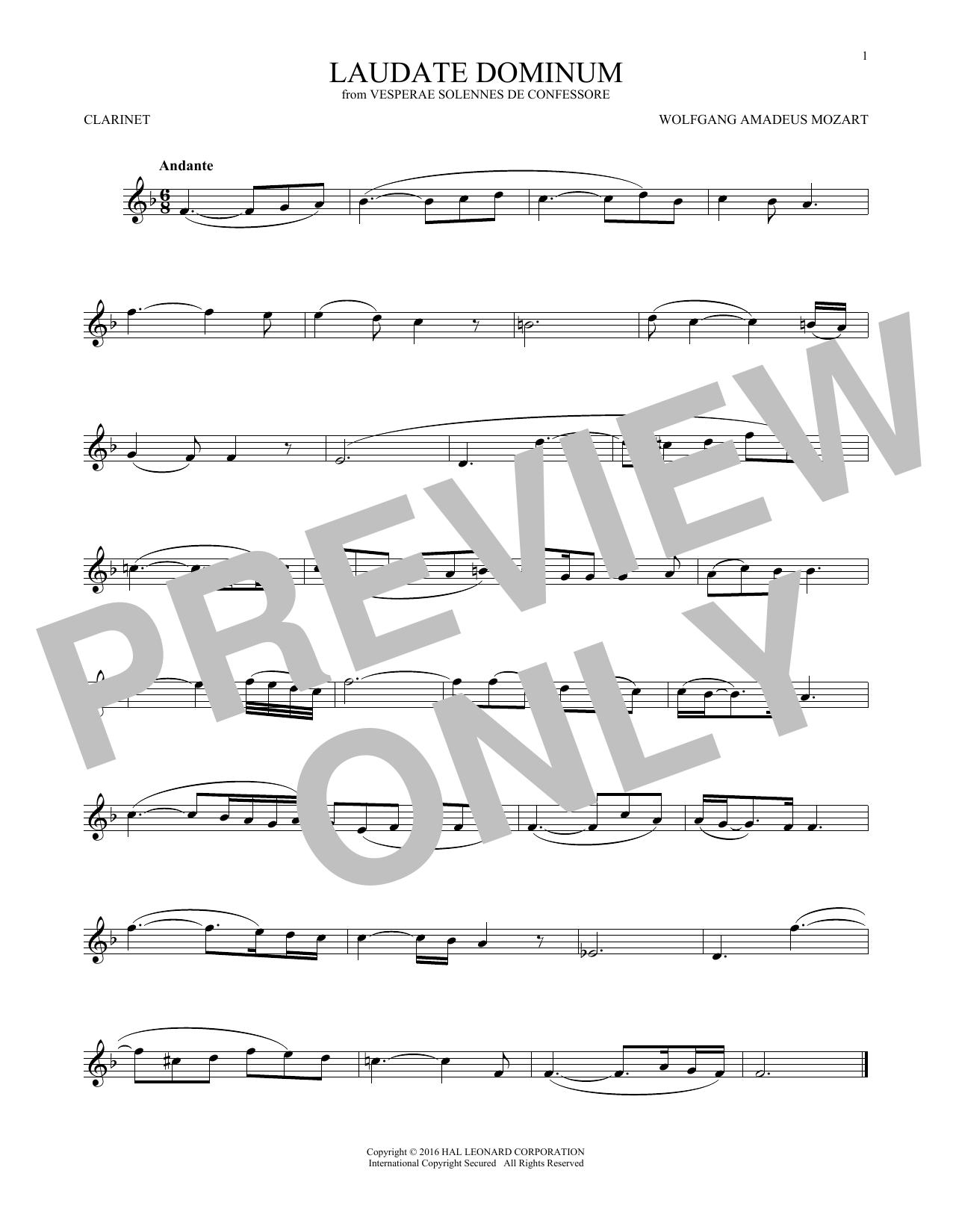 Partition clarinette Laudate Dominum de Wolfgang Amadeus Mozart - Clarinette