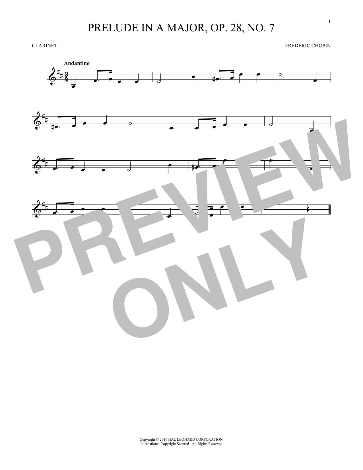 Prelude In A Major, Op. 28, No. 7 (Clarinet Solo)