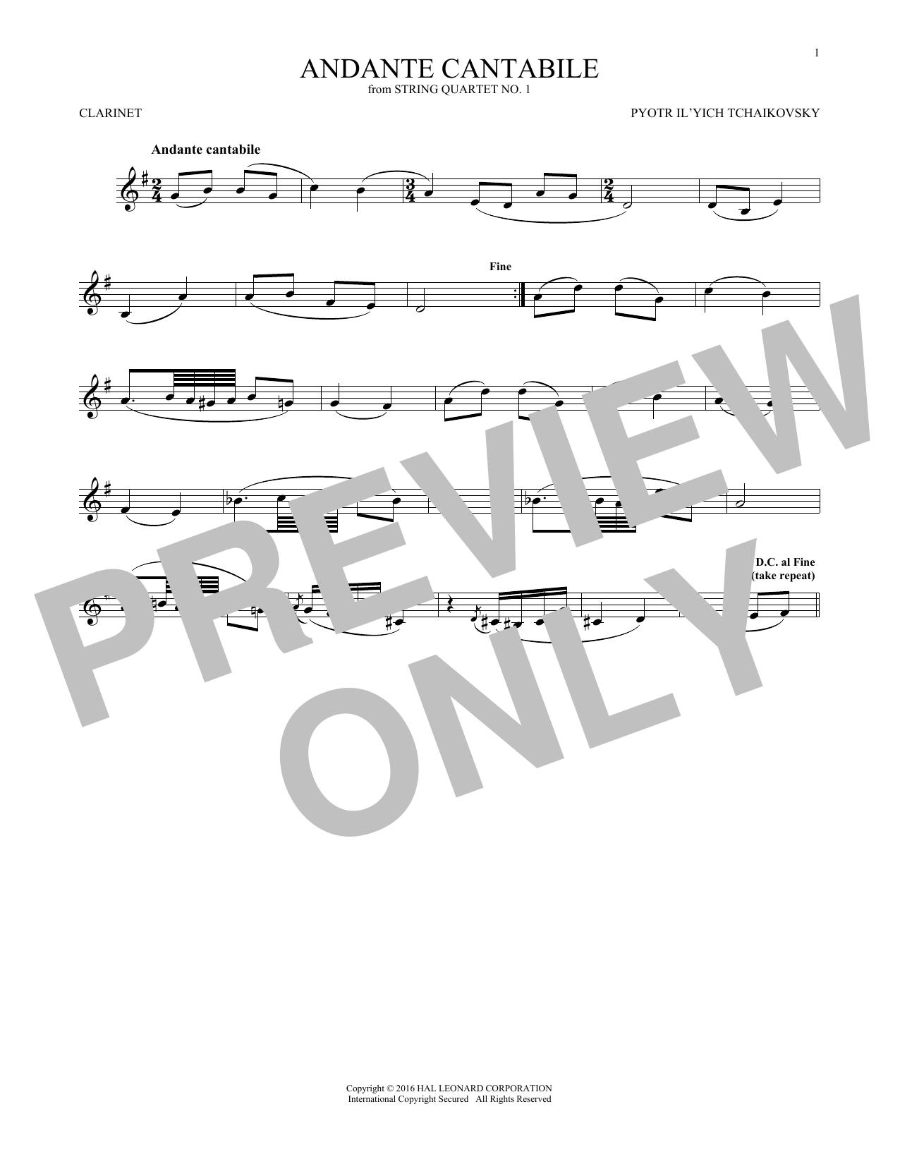 Andante Cantabile (Clarinet Solo)