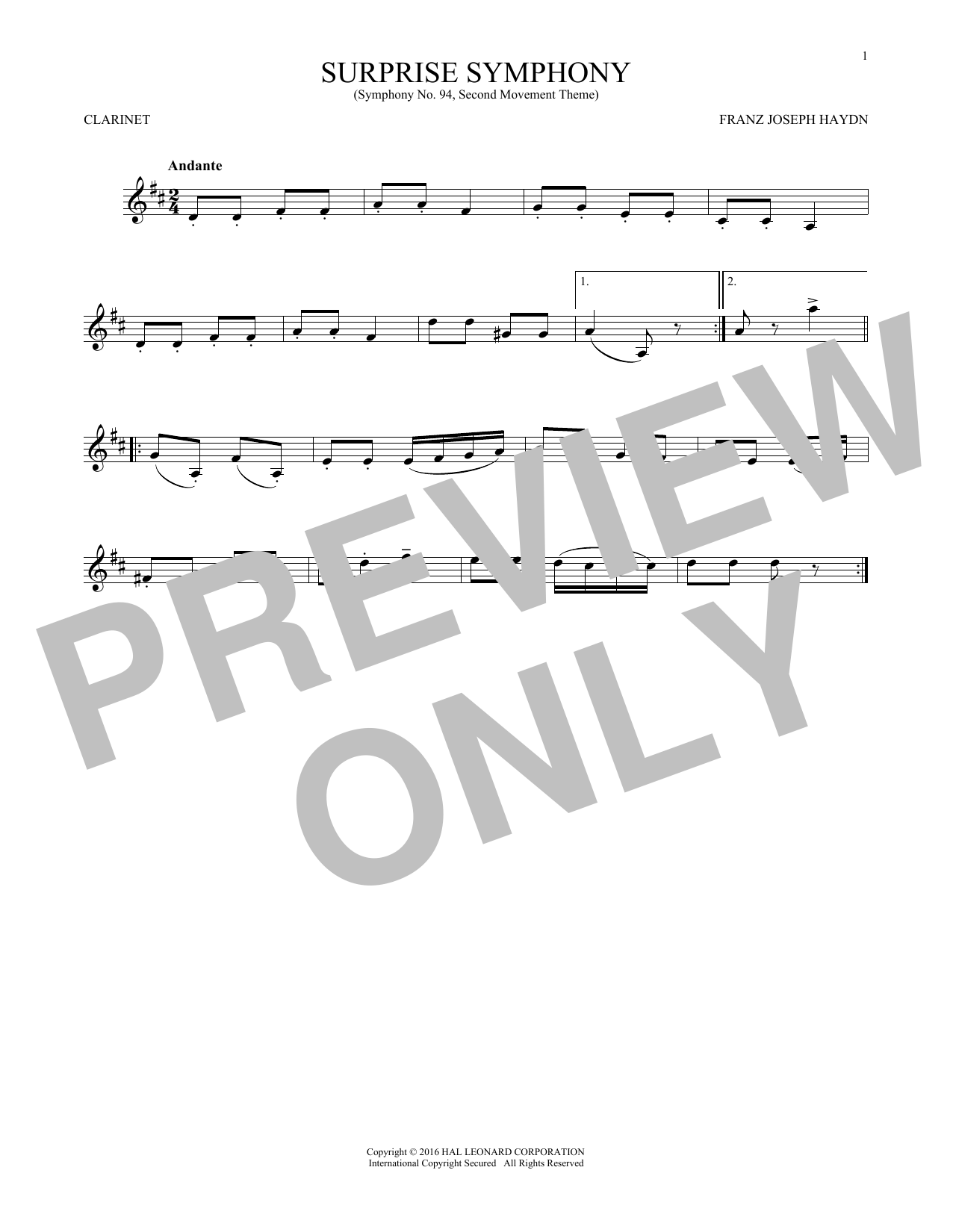 The Surprise Symphony (Clarinet Solo)