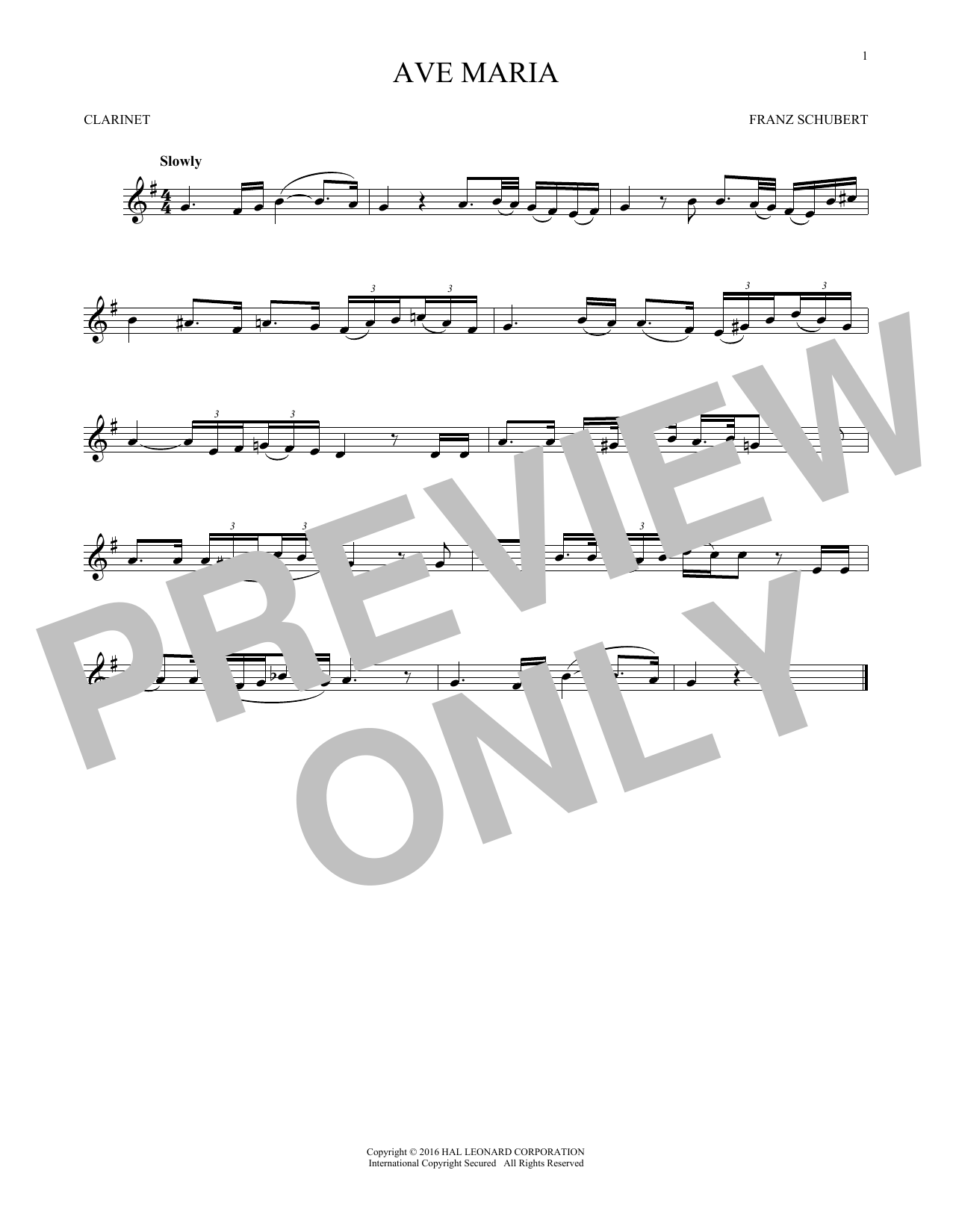 Ave Maria, Op. 52, No. 6 (Clarinet Solo)