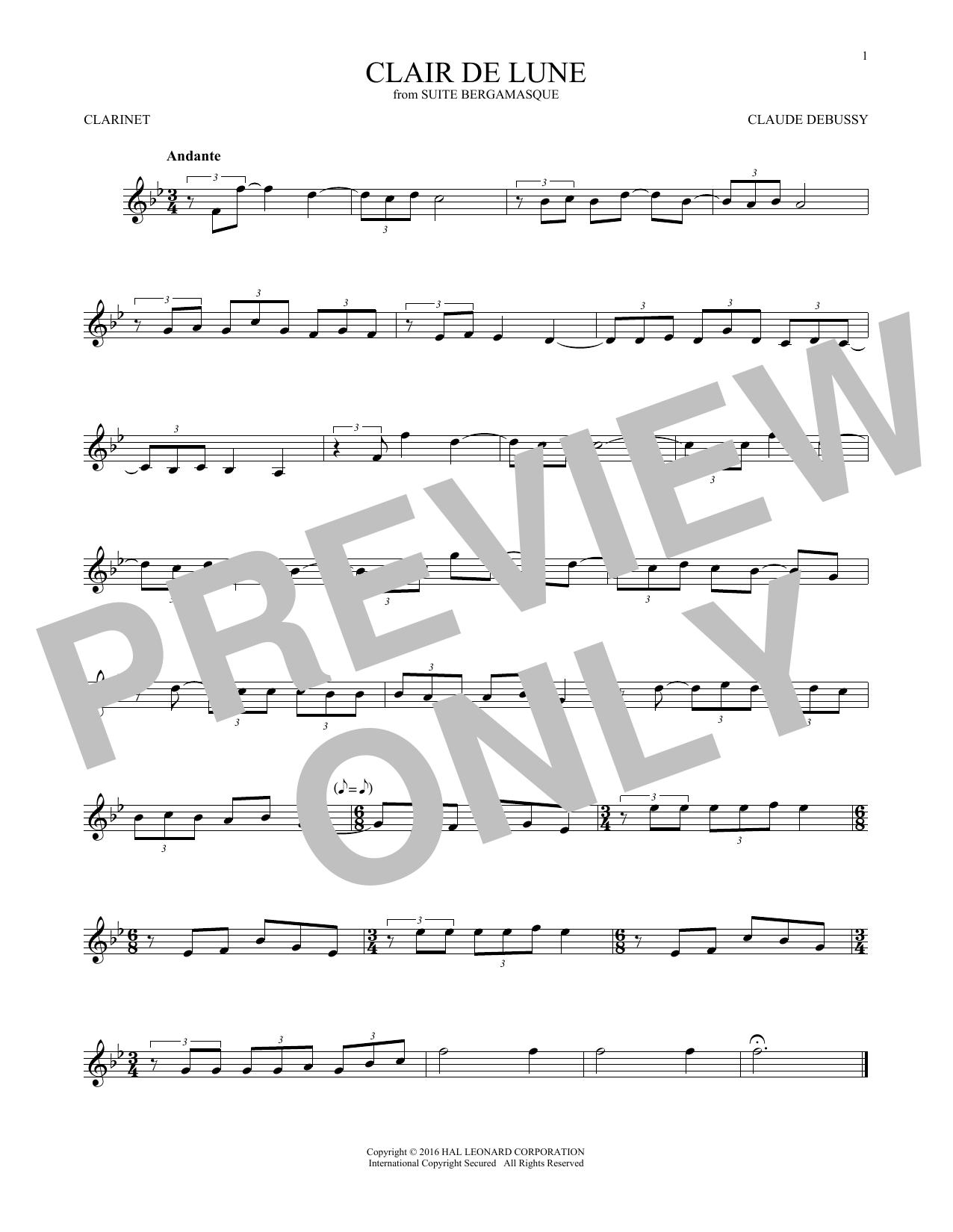 Clair De Lune (Clarinet Solo)