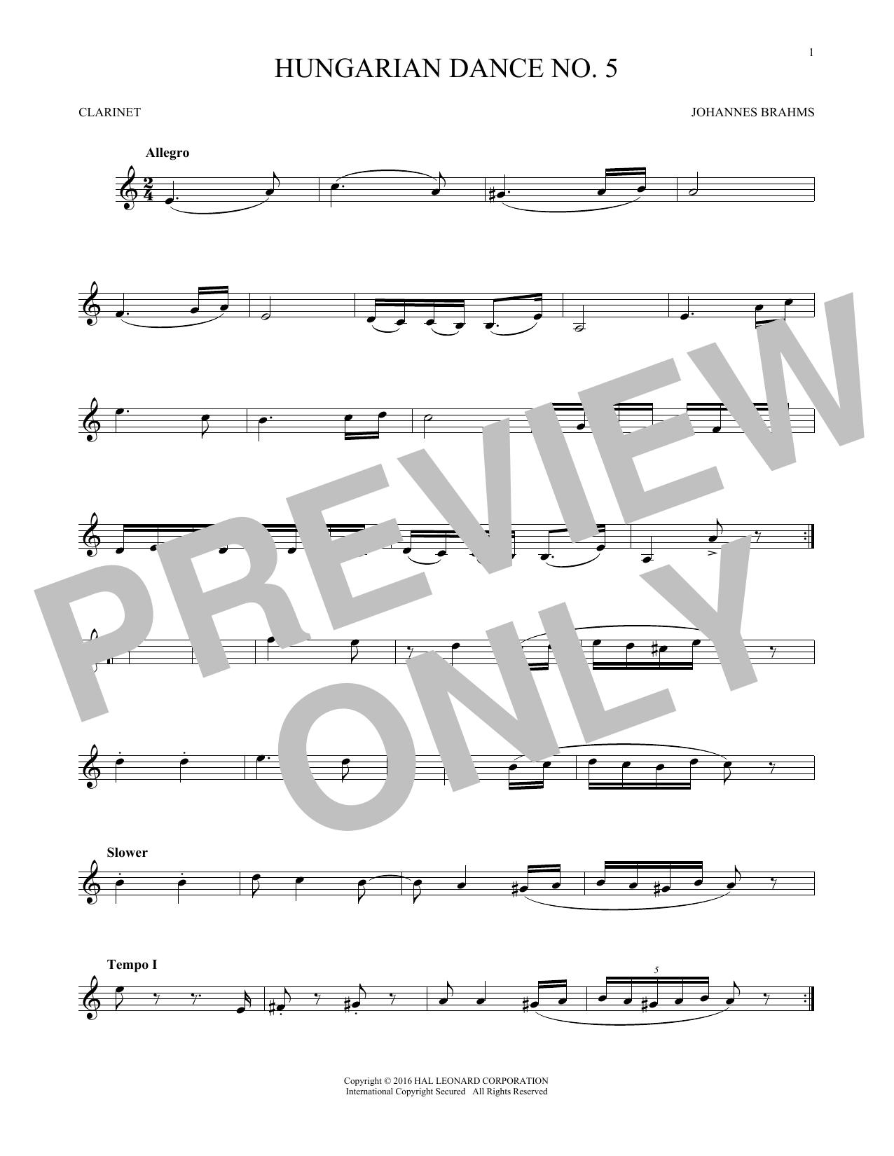 Hungarian Dance No. 5 (Clarinet Solo)