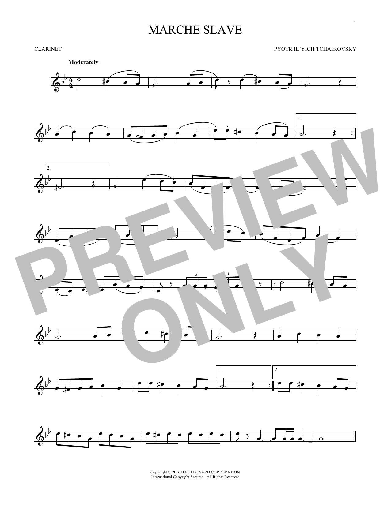 Marche Slav, Op. 31 (Clarinet Solo)