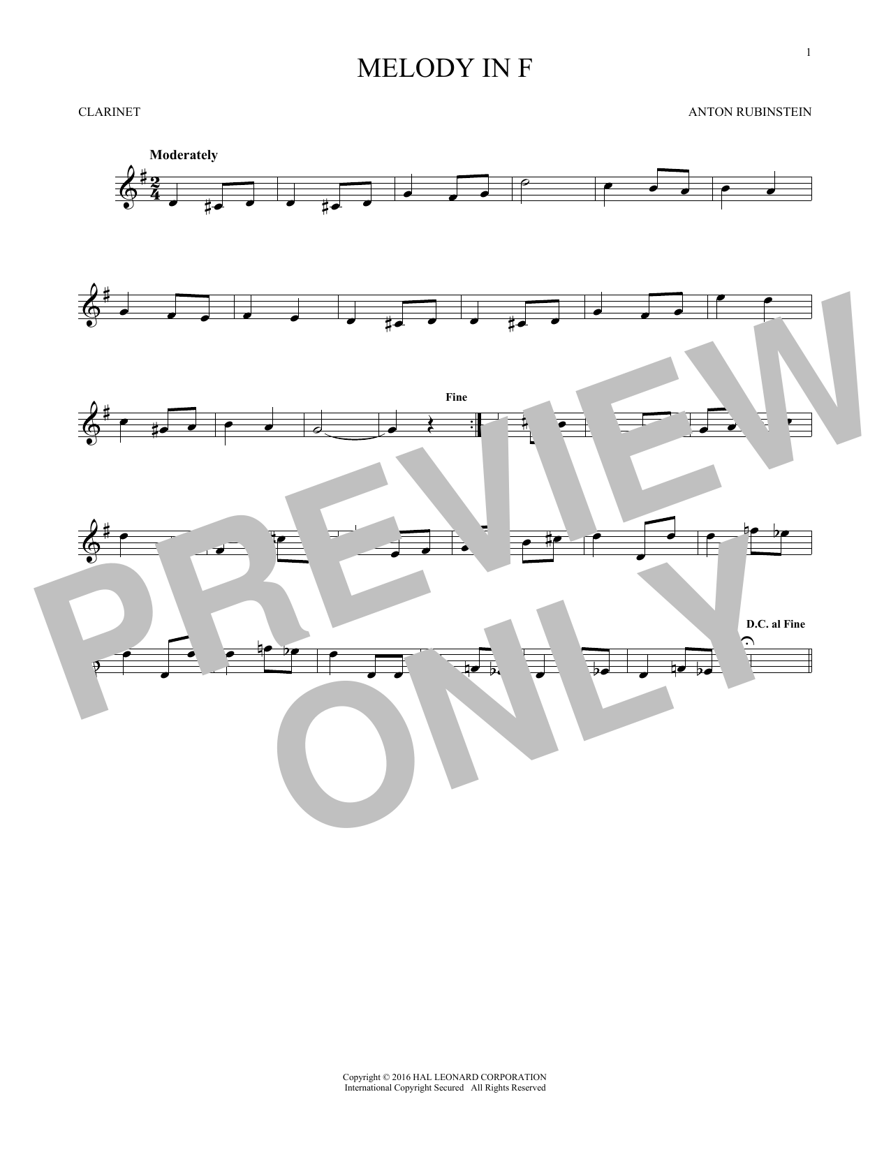 Melody In F (Clarinet Solo)