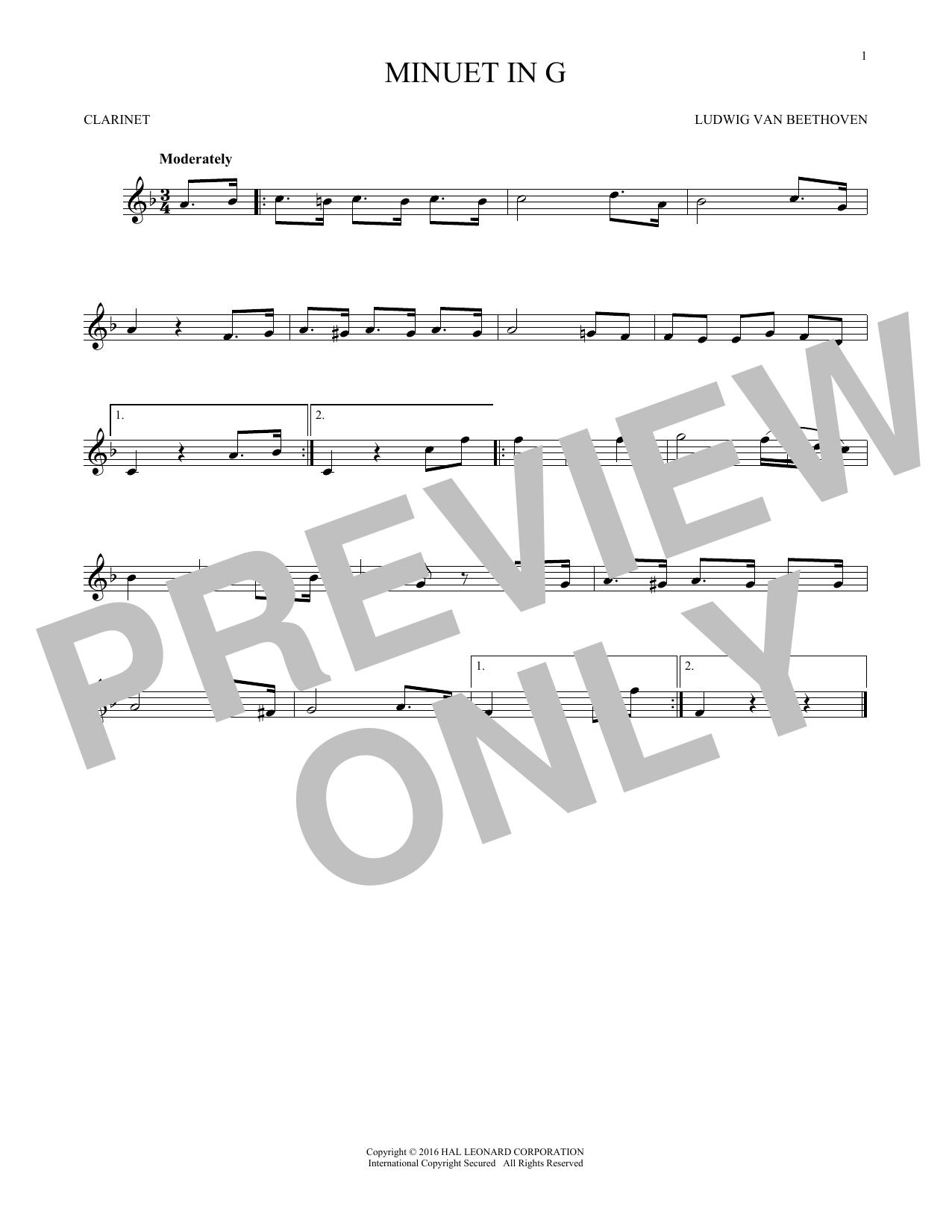 Minuet In G (Clarinet Solo)