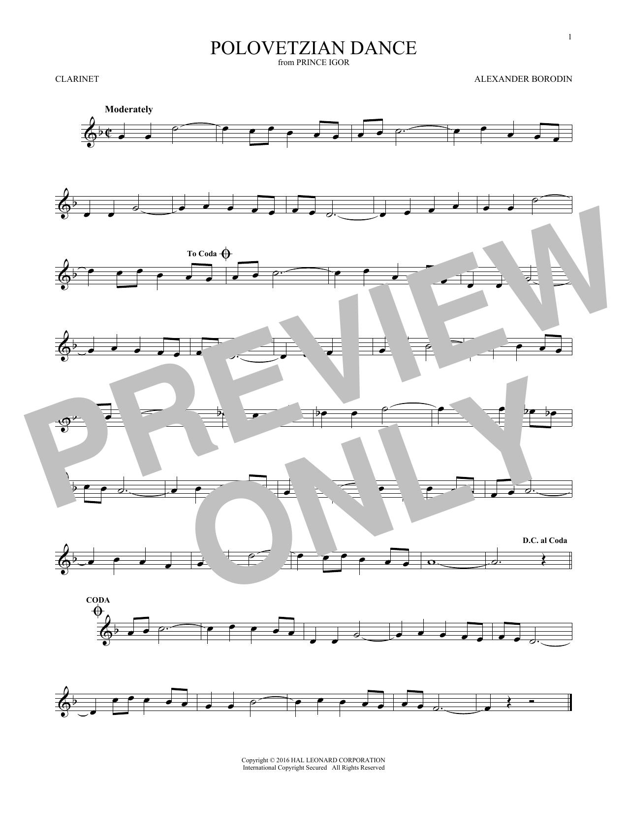 Polovetsian Dances (Clarinet Solo)