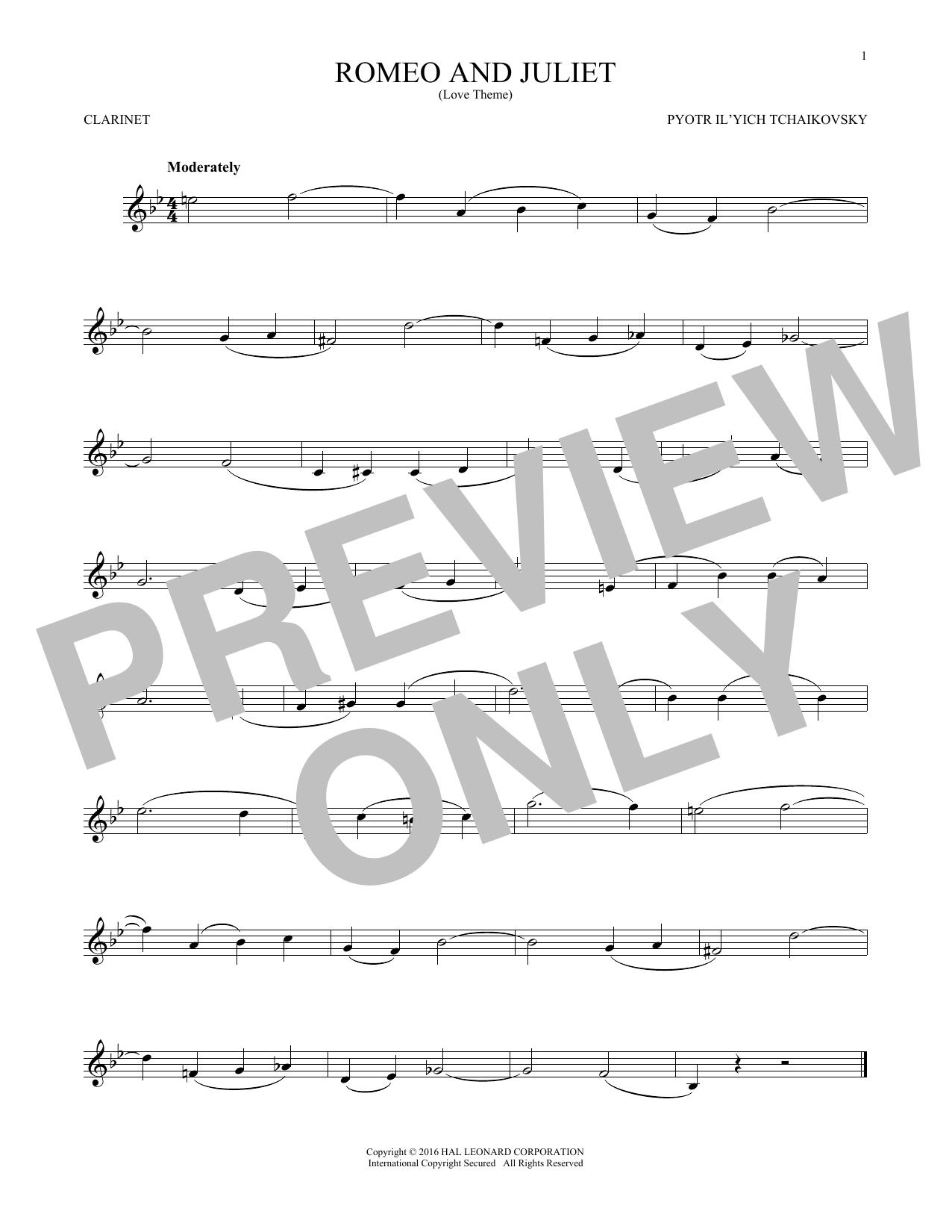 Romeo And Juliet (Love Theme) (Clarinet Solo)