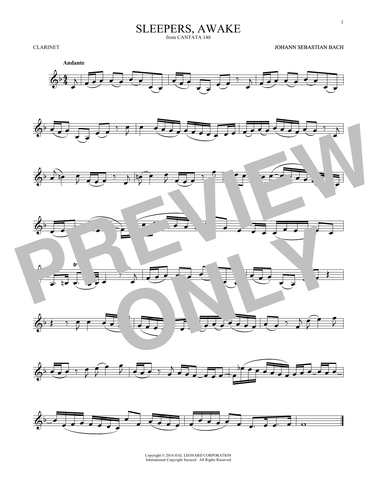 Sleepers, Awake (Wachet Auf) (Clarinet Solo)