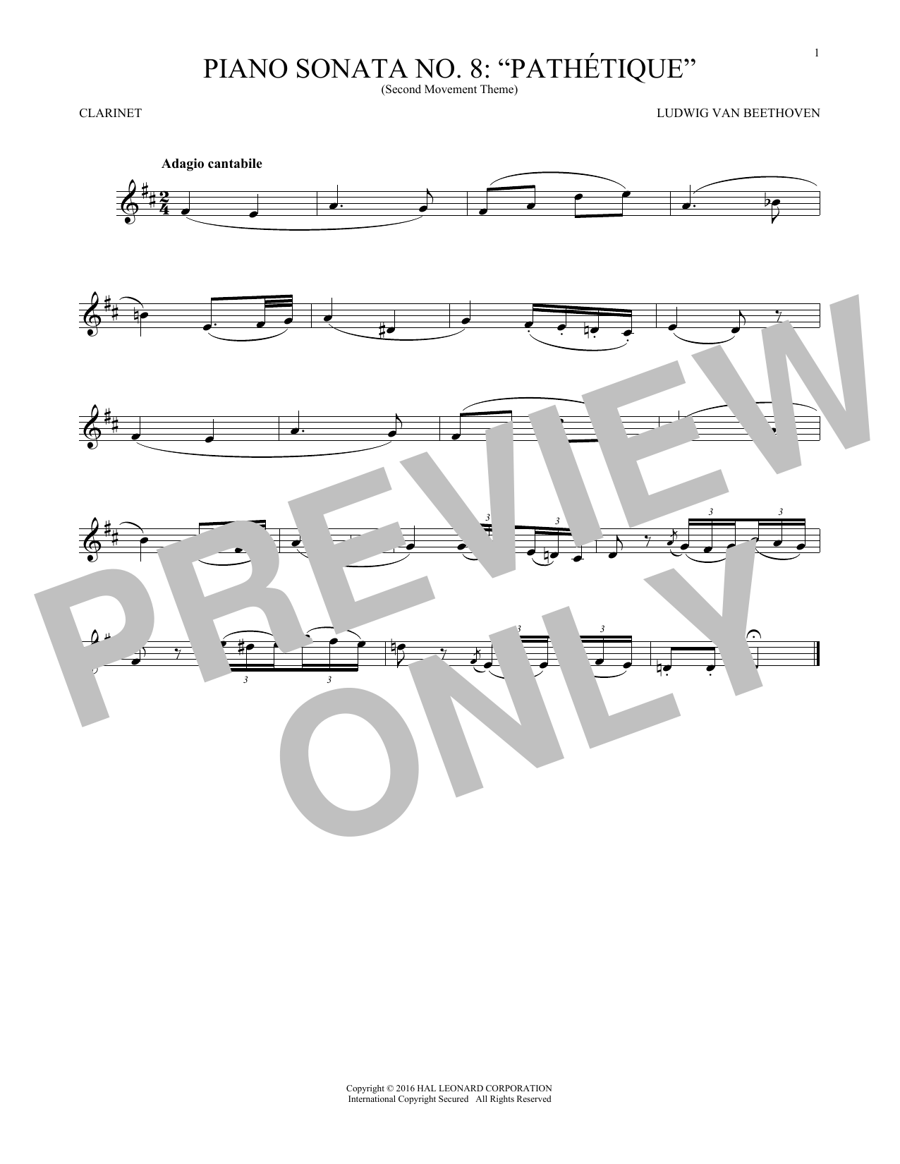 Adagio Cantabile, Op. 13 (Clarinet Solo)