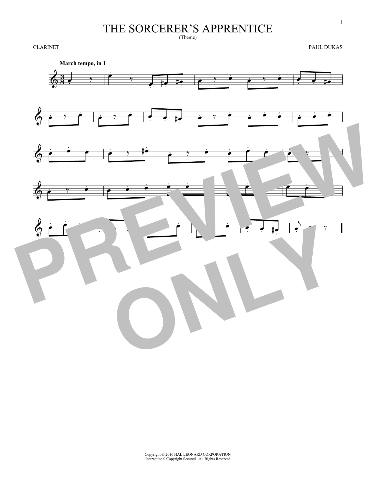 Partition clarinette The Sorcerer's Apprentice de Paul Dukas - Clarinette