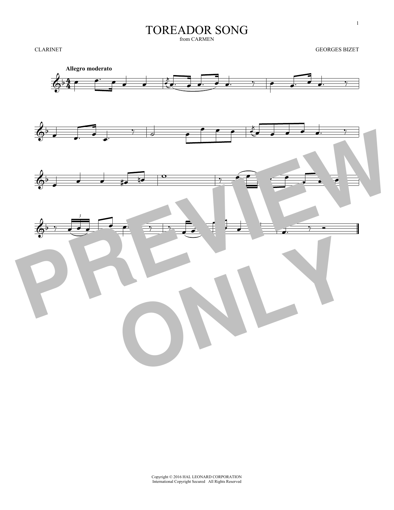 Toreador Song (Clarinet Solo)