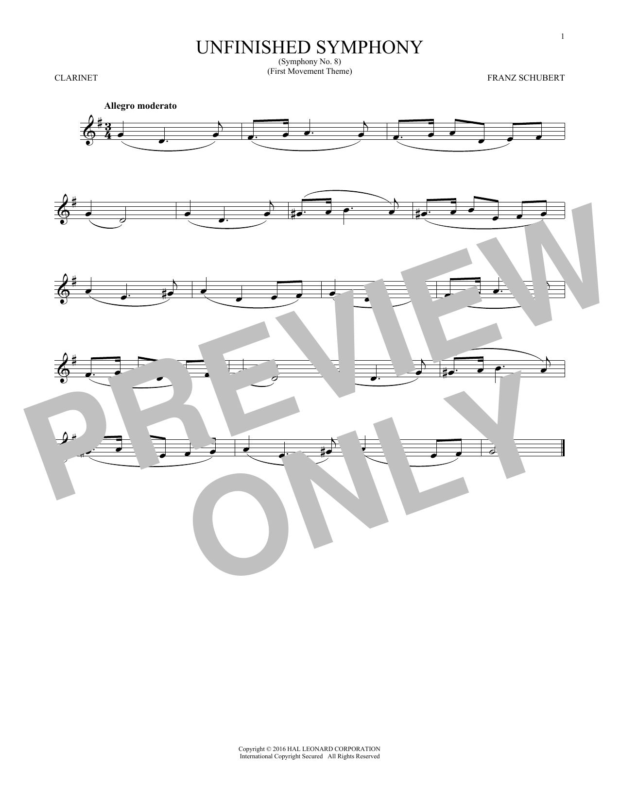 The Unfinished Symphony (Theme) (Clarinet Solo)