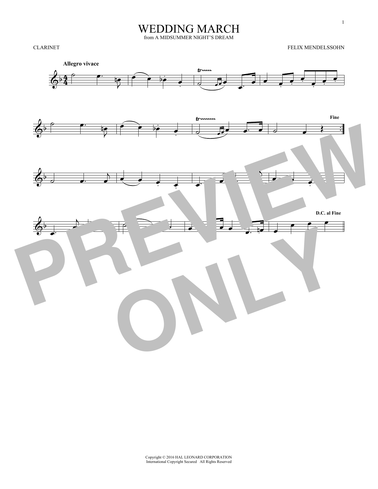 Wedding March (Clarinet Solo)