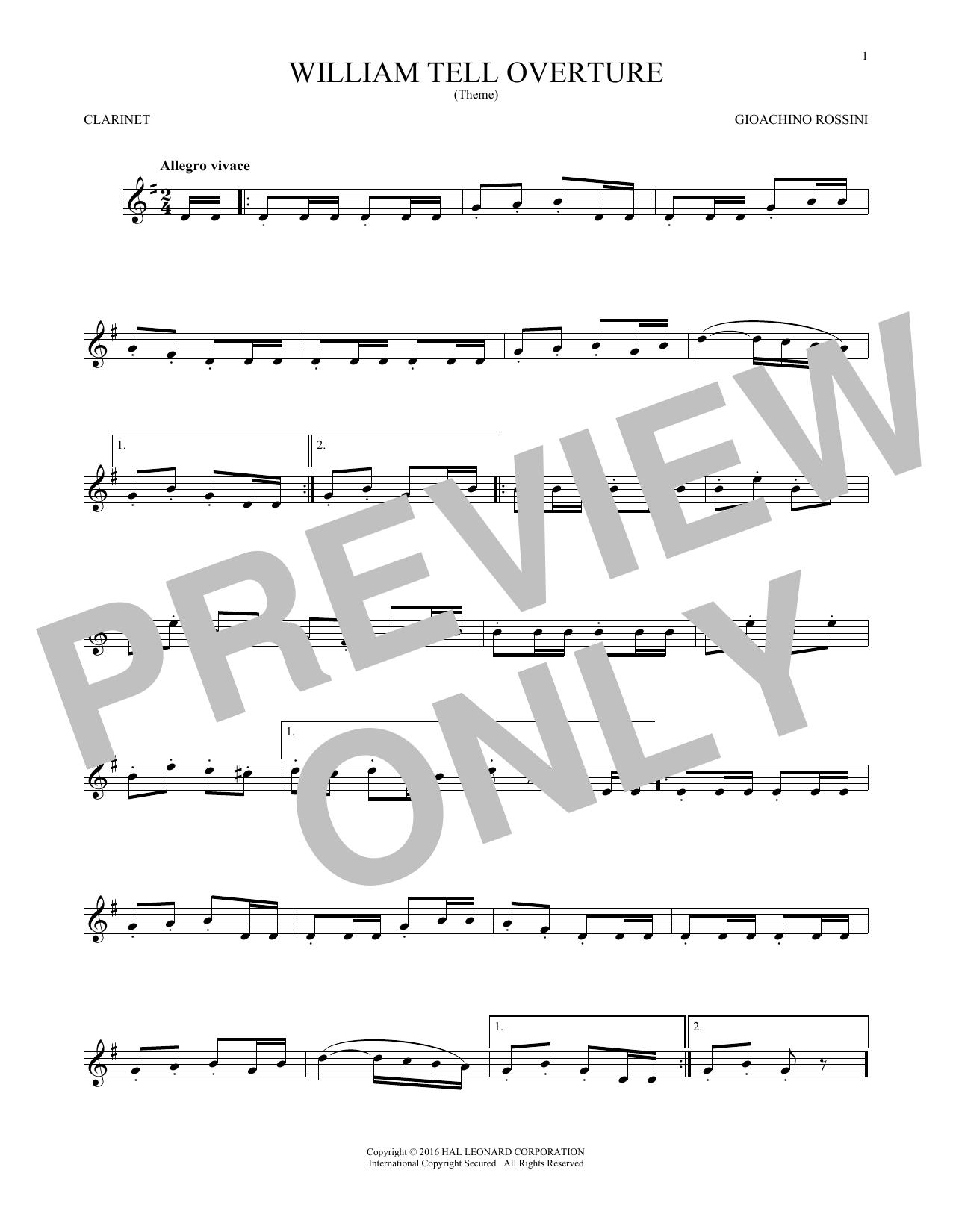 William Tell Overture (Clarinet Solo)