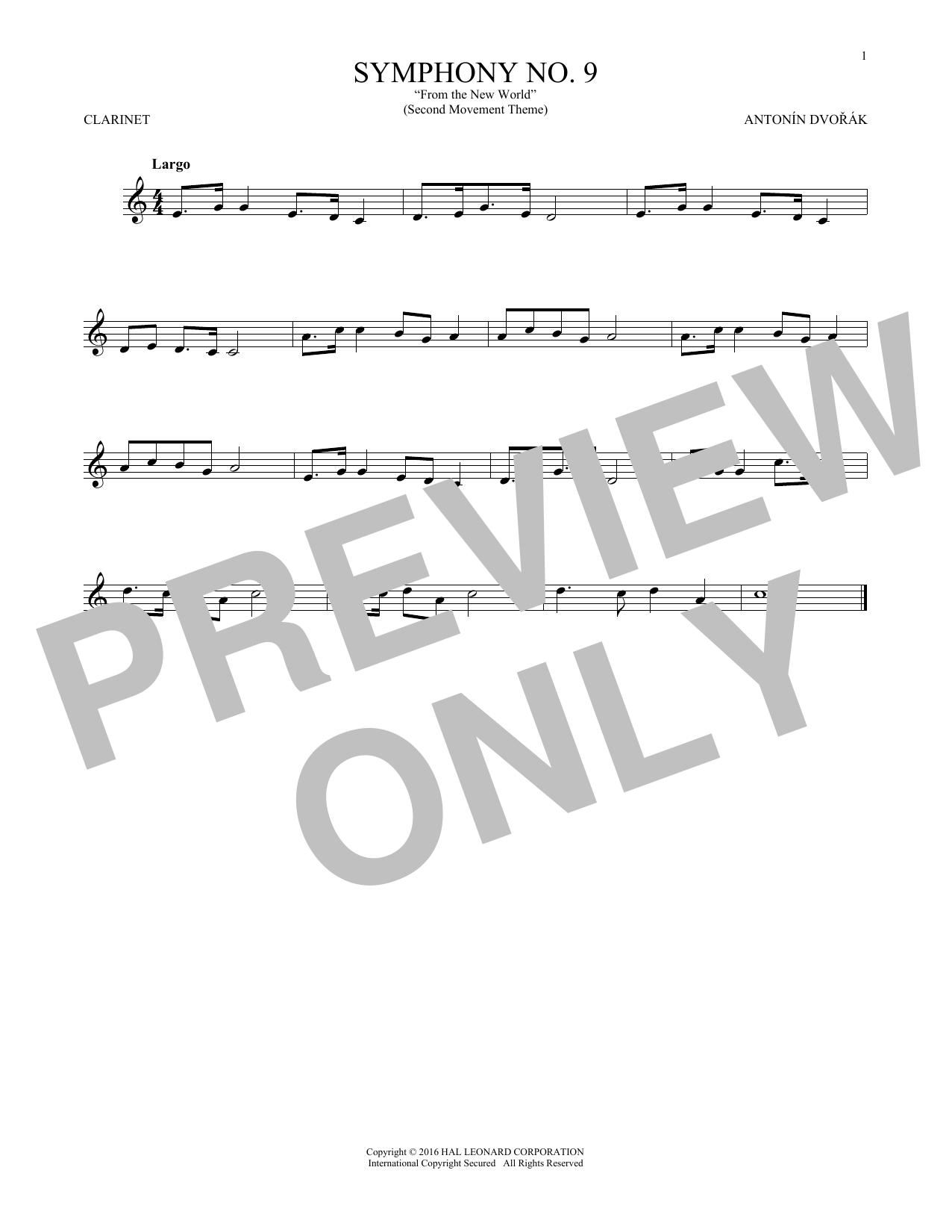 """Largo From Symphony No. 9 (""""New World"""") (Clarinet Solo)"""