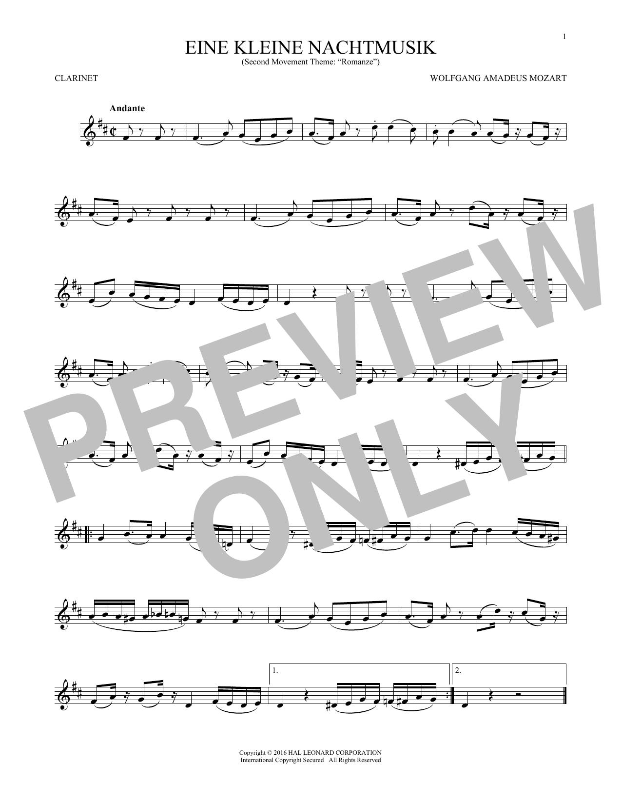 """Eine Kleine Nachtmusik (""""Romance""""), Second Movement (Clarinet Solo)"""