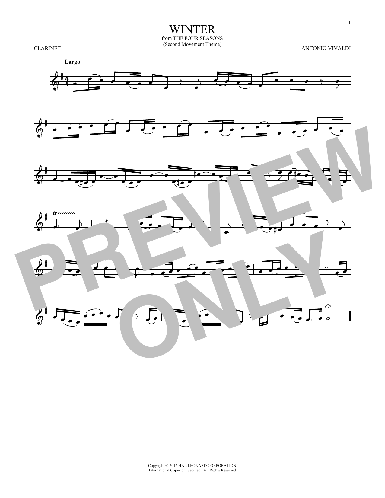 Winter (from The Four Seasons) (Clarinet Solo)