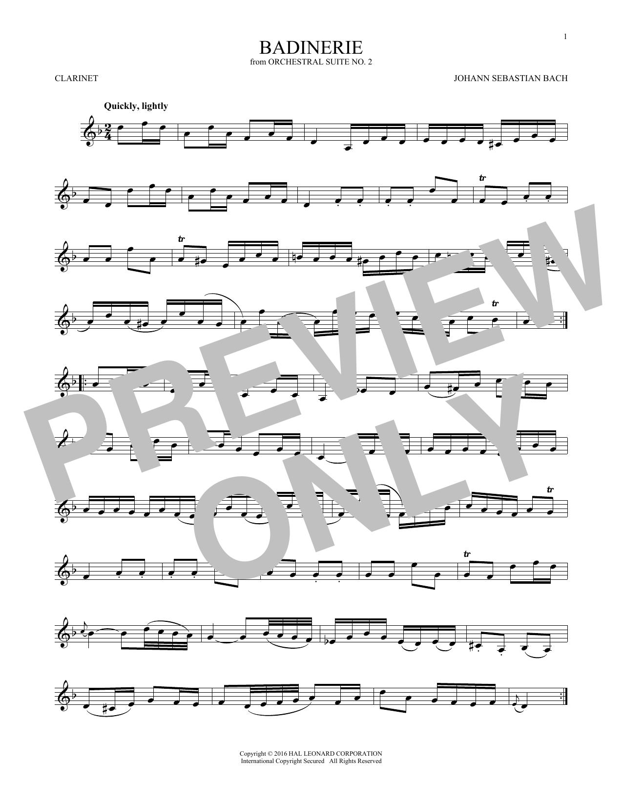 Badinerie (Suite No. 2) (Clarinet Solo)
