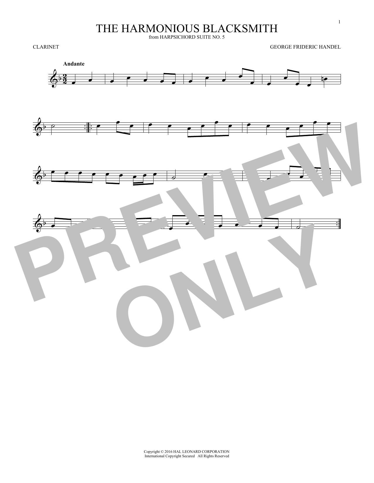 Harmonious Blacksmith (Clarinet Solo)
