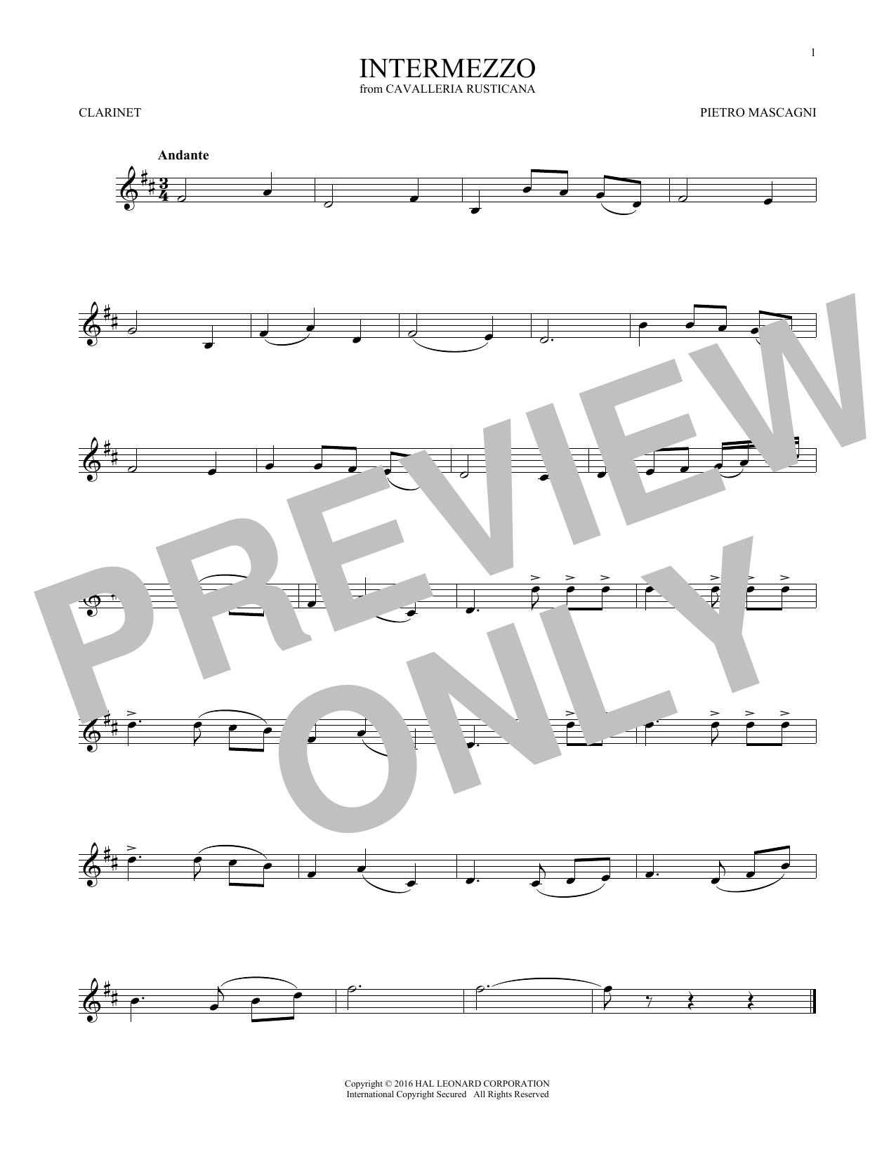 Partition clarinette Intermezzo de Pietro Mascagni - Clarinette