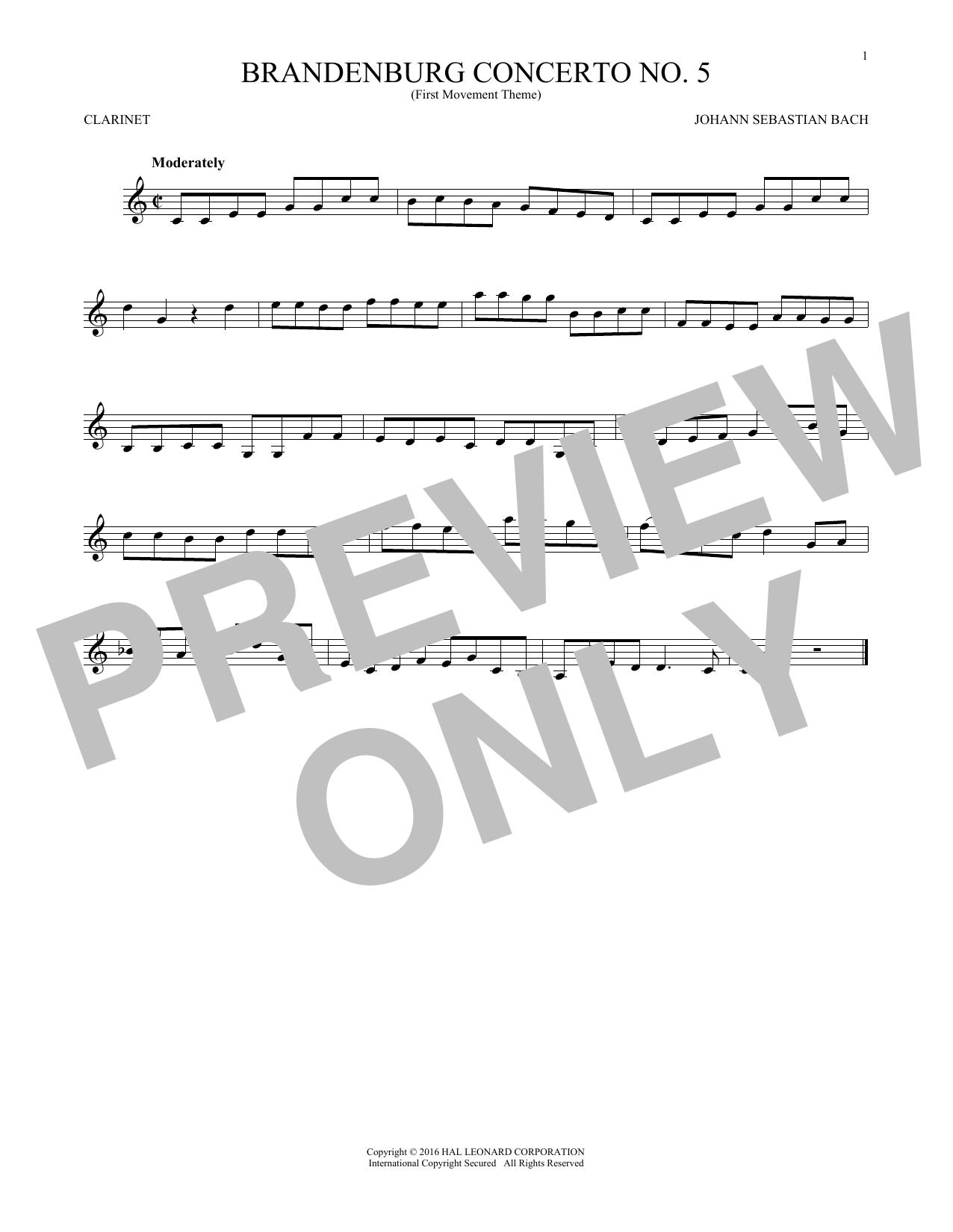 Brandenburg Concerto No. 5 (Clarinet Solo)