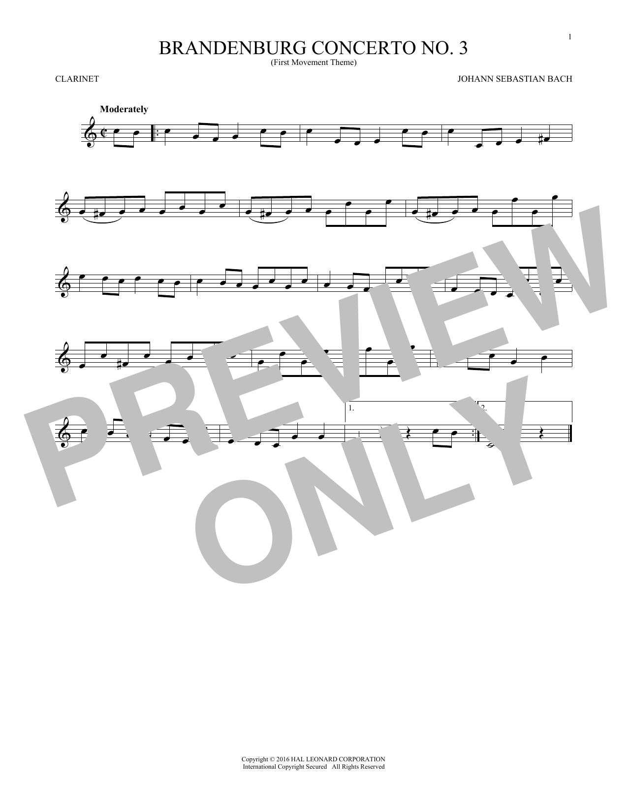 Brandenburg Concerto No. 3 (Clarinet Solo)