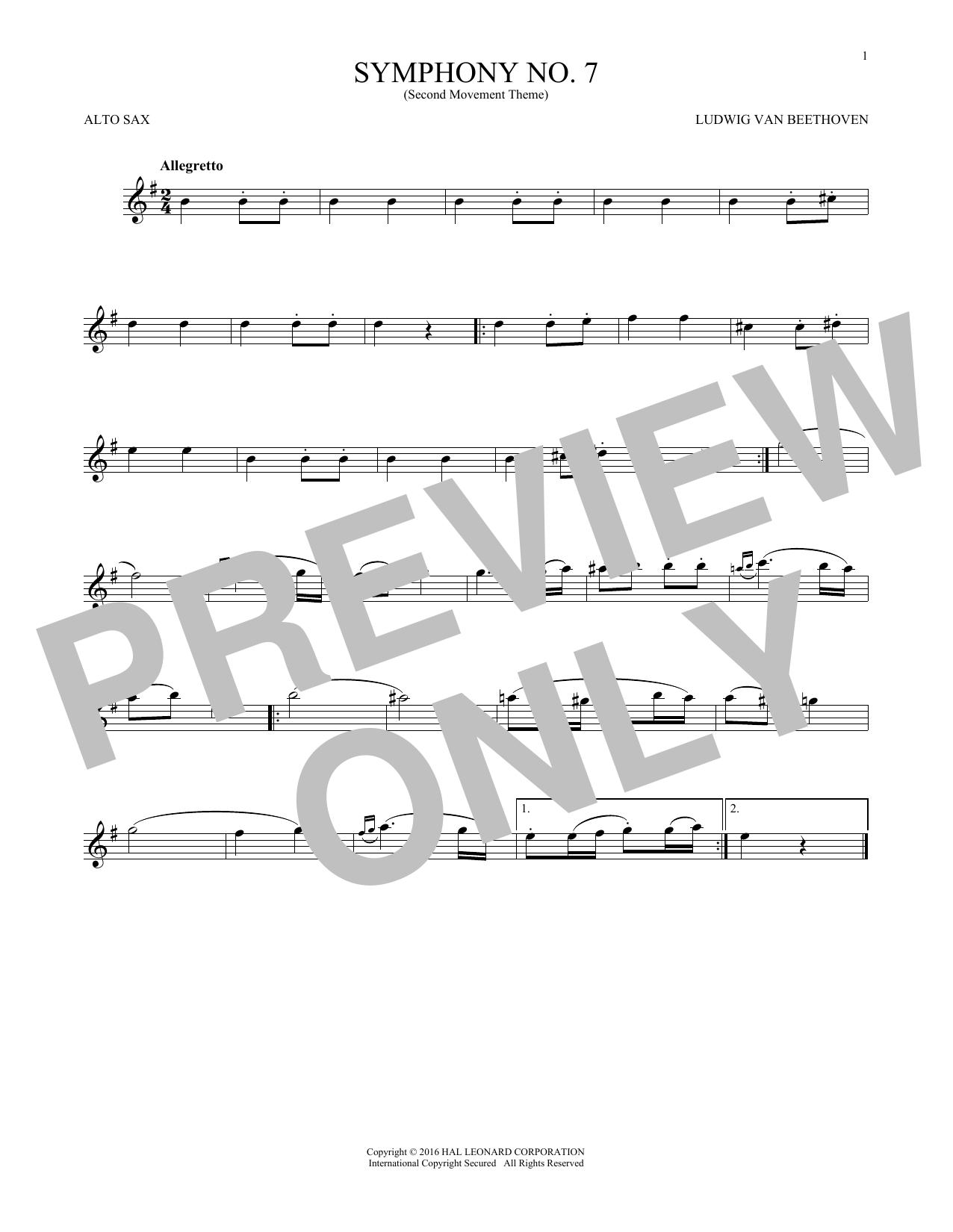 Symphony No. 7 In A Major, Second Movement (Allegretto) (Alto Sax Solo)