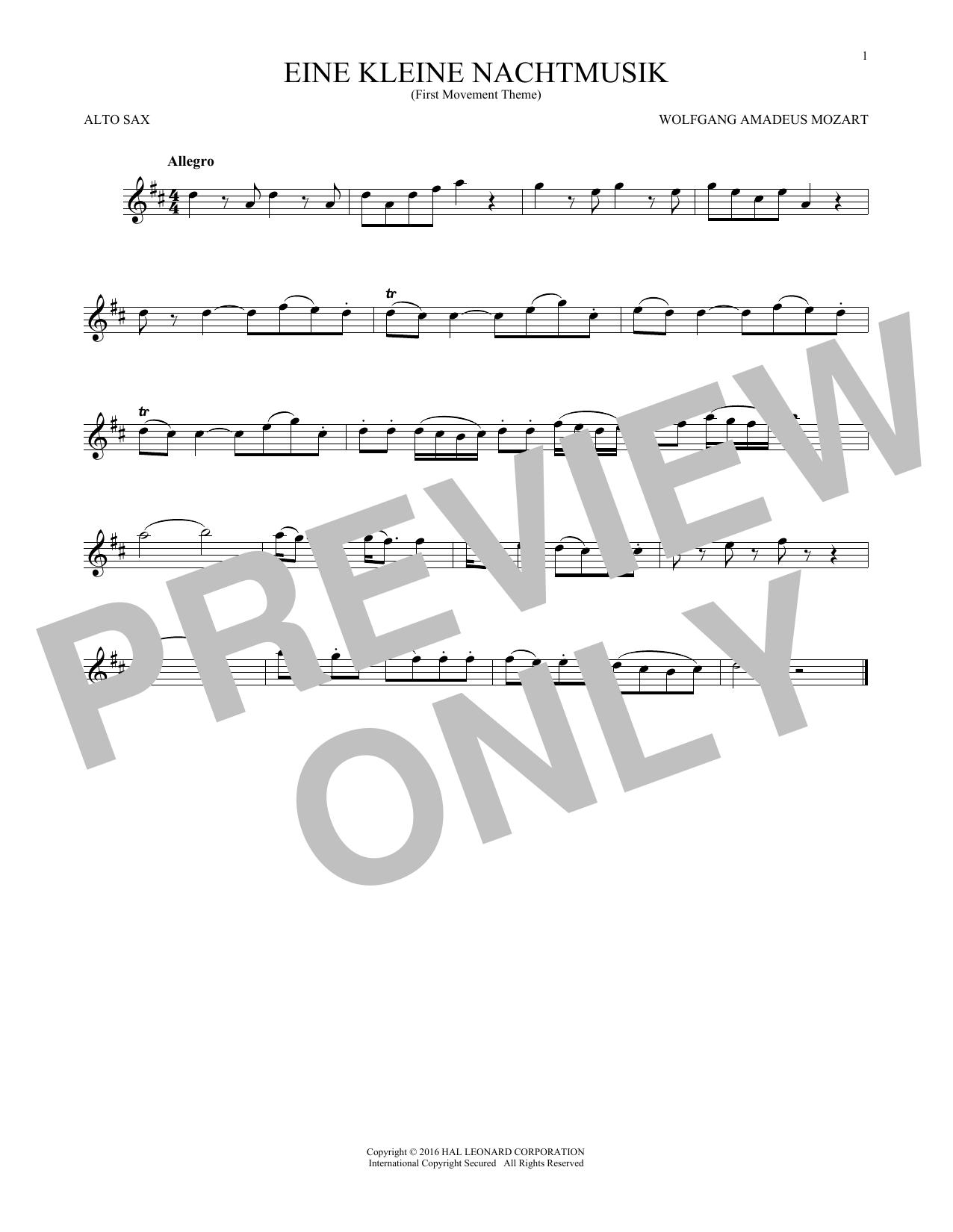 """Eine Kleine Nachtmusik (""""Serenade""""), First Movement Excerpt (Alto Sax Solo)"""
