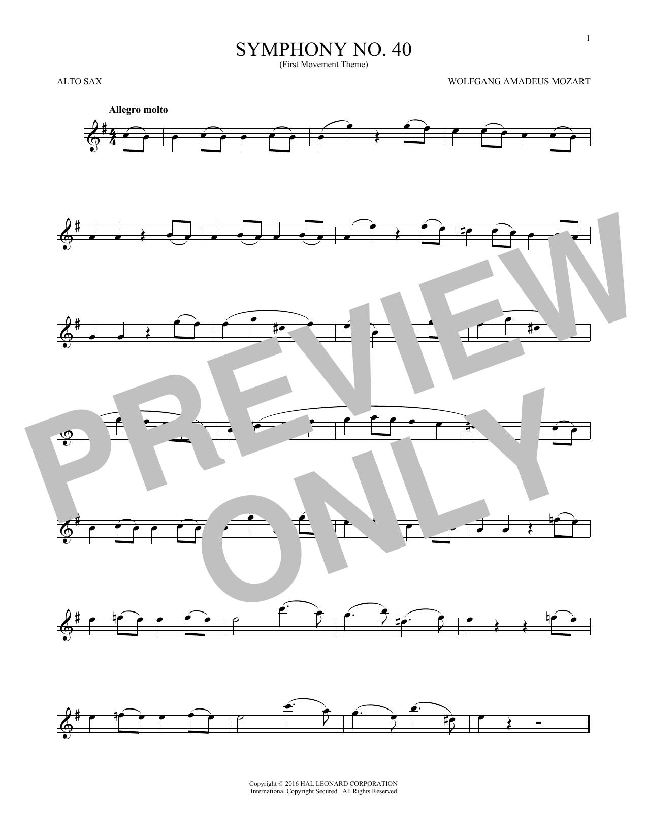 Symphony No. 40 In G Minor, First Movement Excerpt (Alto Sax Solo)