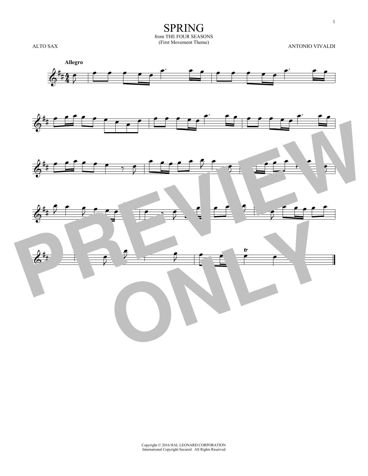 """Allegro I, RV 269 (""""Spring"""") (First Movement Theme) (Alto Sax Solo)"""