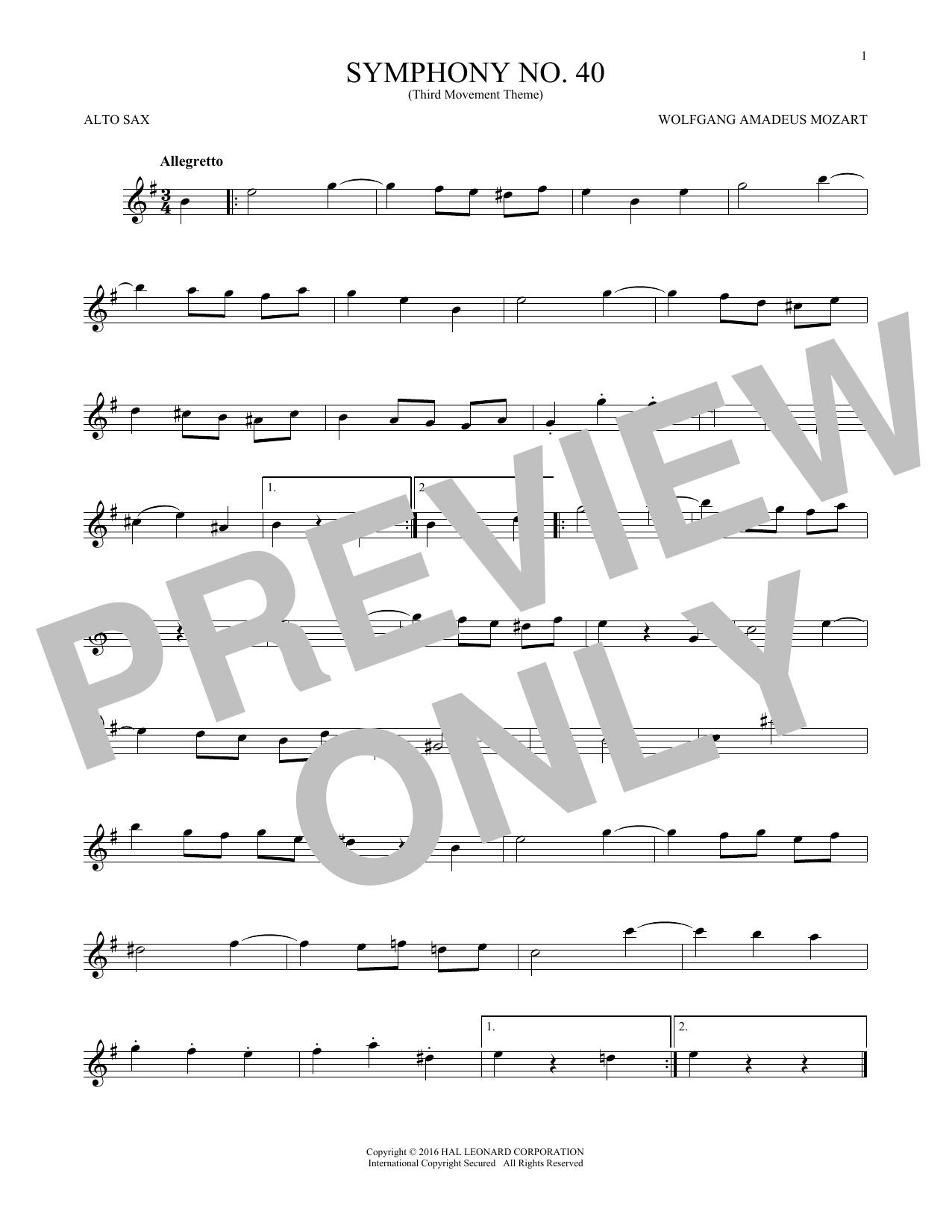 "Symphony No. 40 In G Minor, Third Movement (""Minuet"") (Alto Sax Solo)"