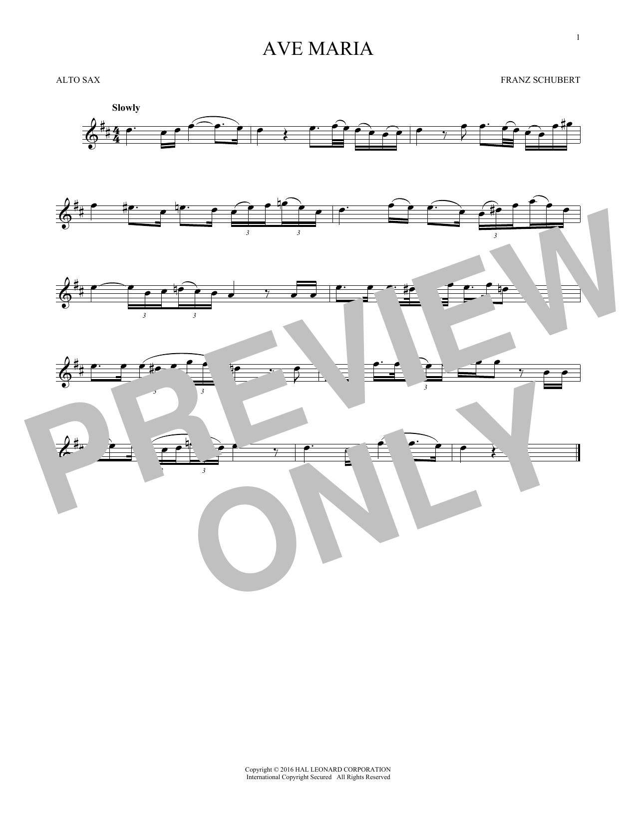 Ave Maria, Op. 52, No. 6 (Alto Sax Solo)