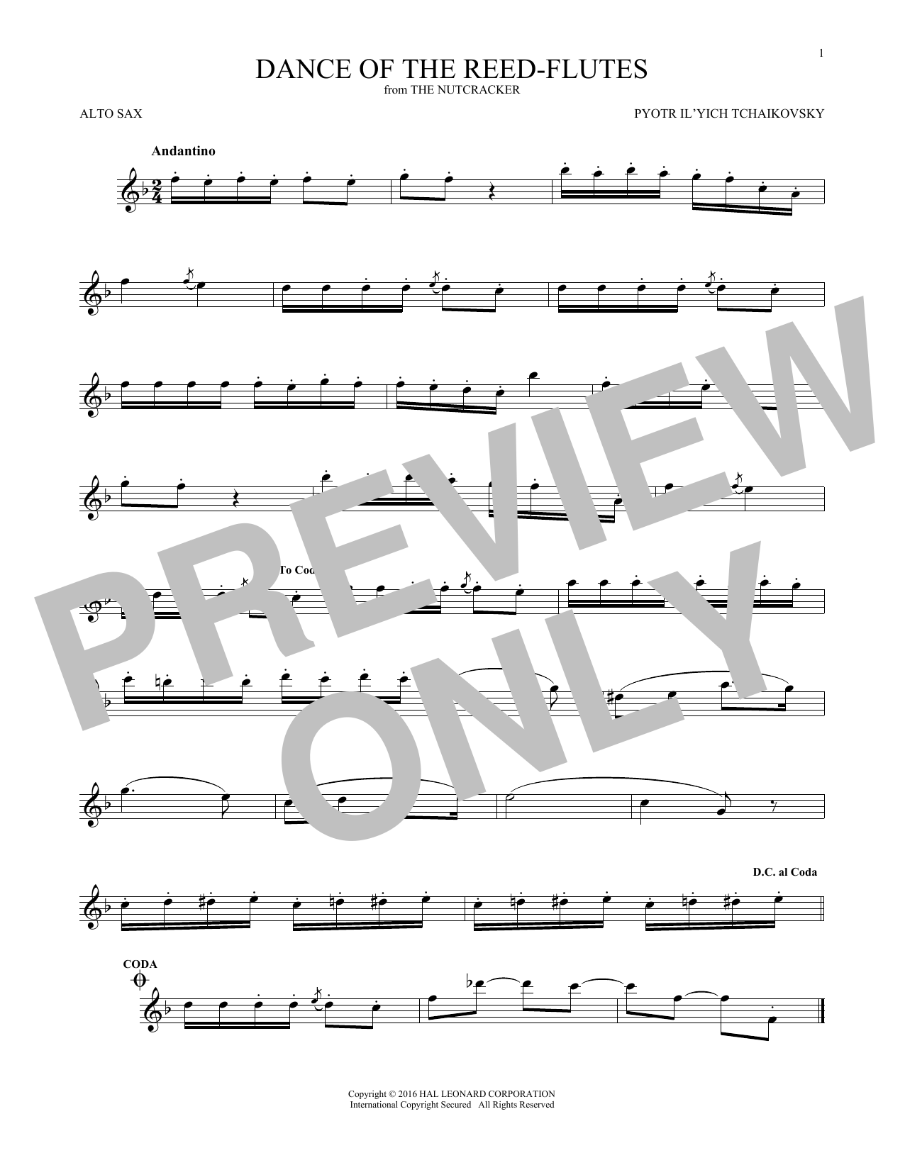 Dance Of The Reed Flutes, Op. 71a (Alto Sax Solo)