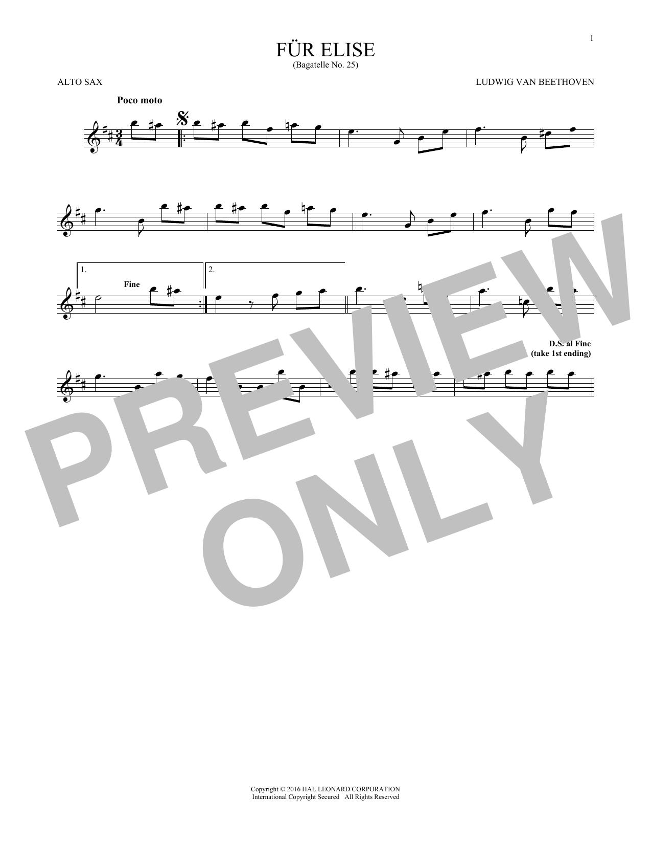 Fur Elise, WoO 59 (Alto Sax Solo)