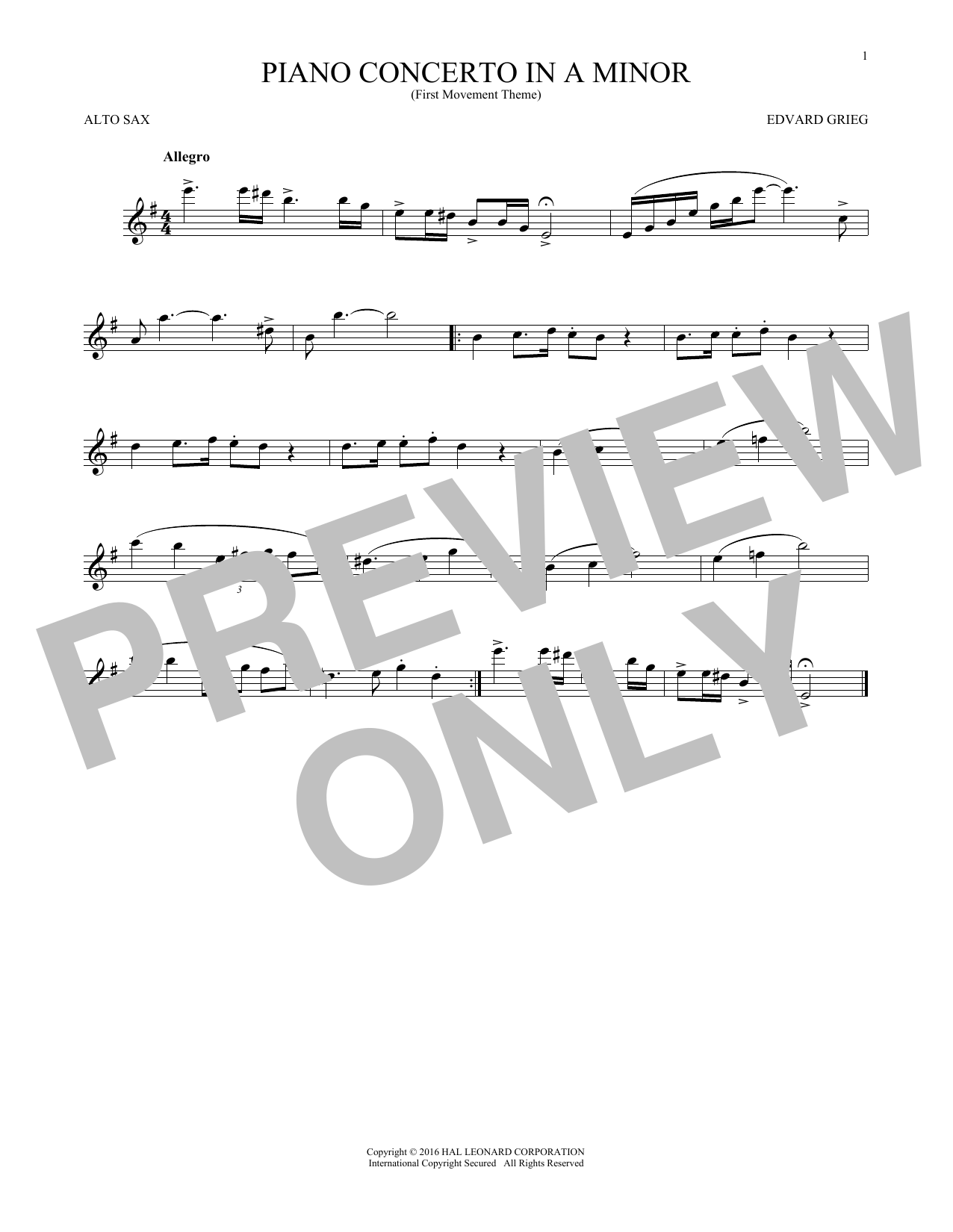 Piano Concerto In A Minor, Op. 16 (Alto Sax Solo)