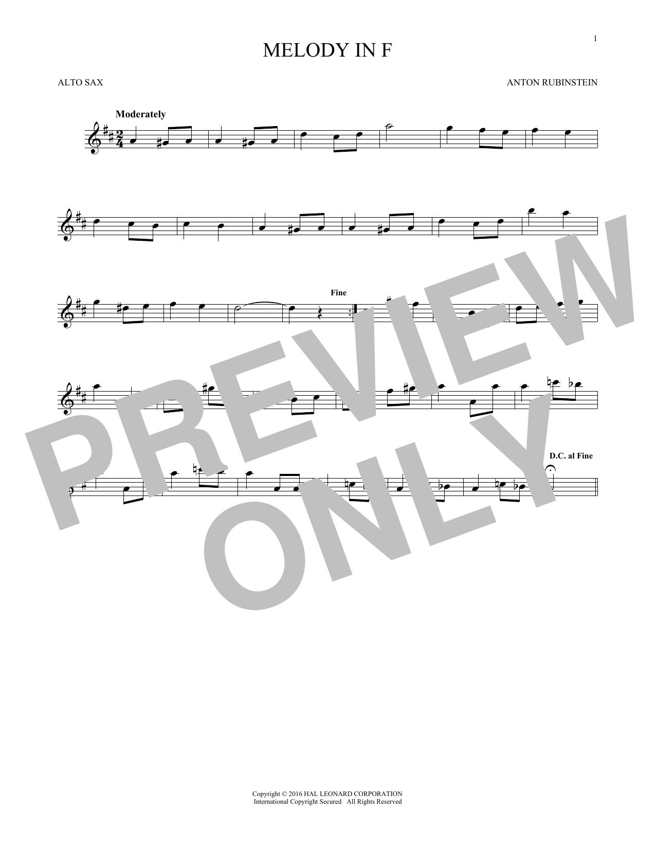 Melody In F (Alto Sax Solo)