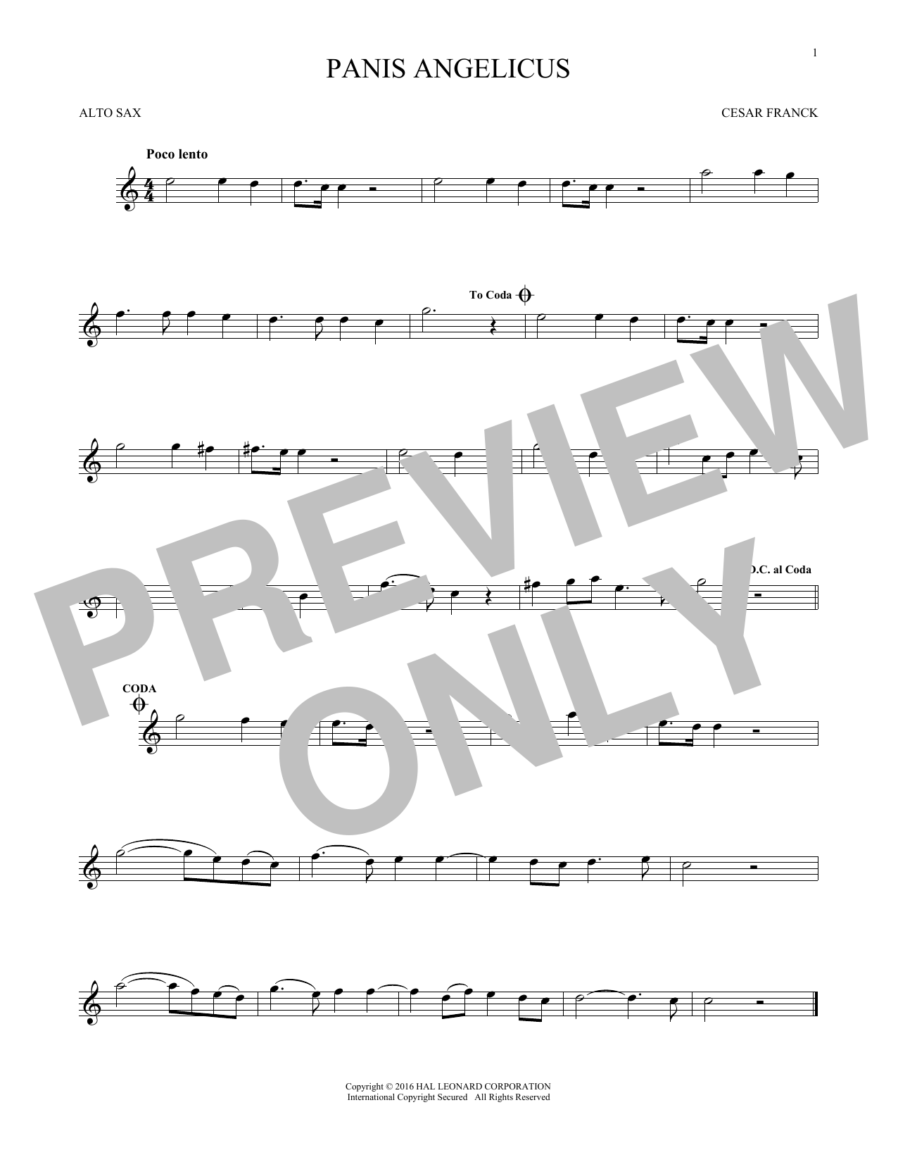 Panis Angelicus (O Lord Most Holy) (Alto Sax Solo)