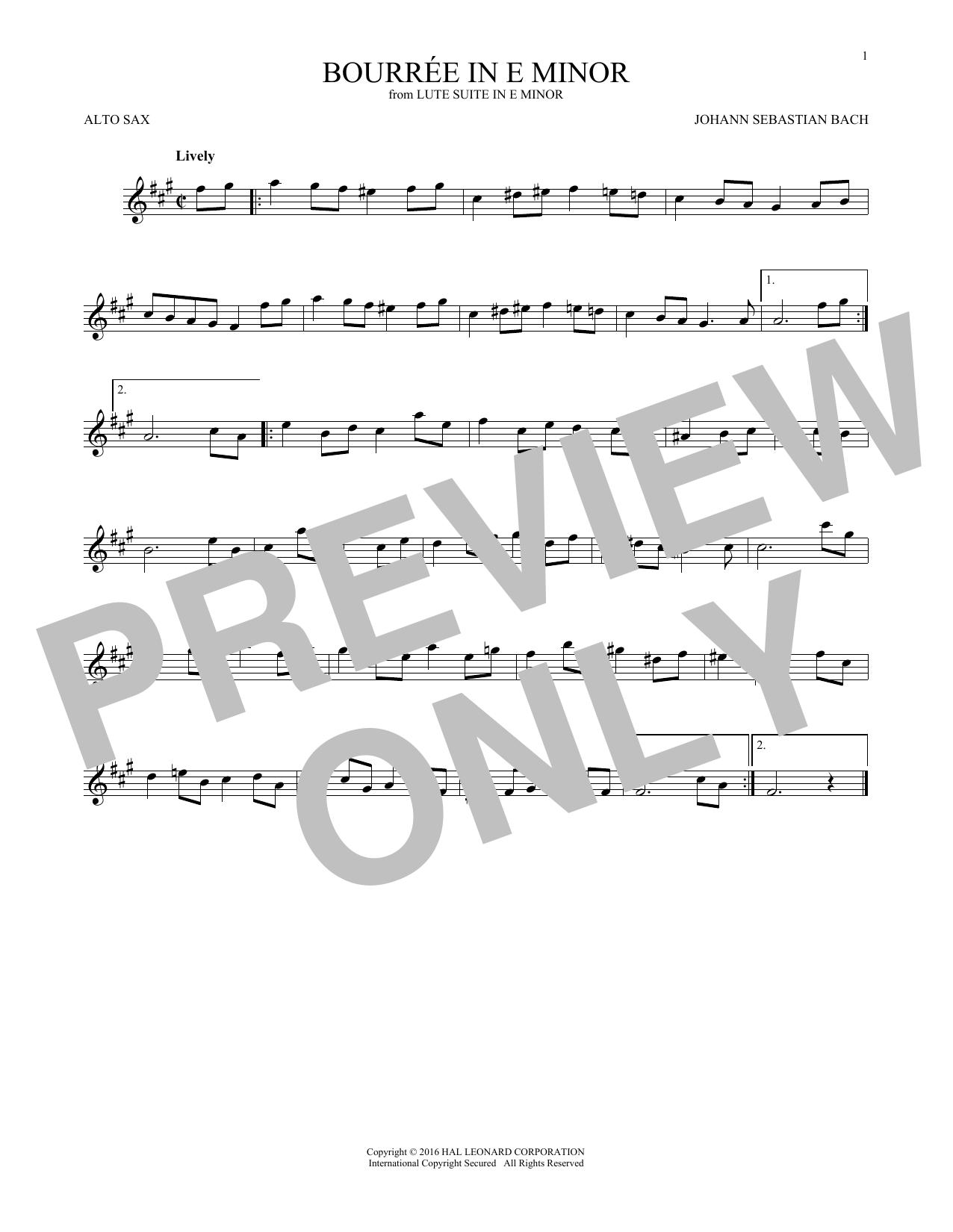 Bourree In E Minor (Alto Sax Solo)
