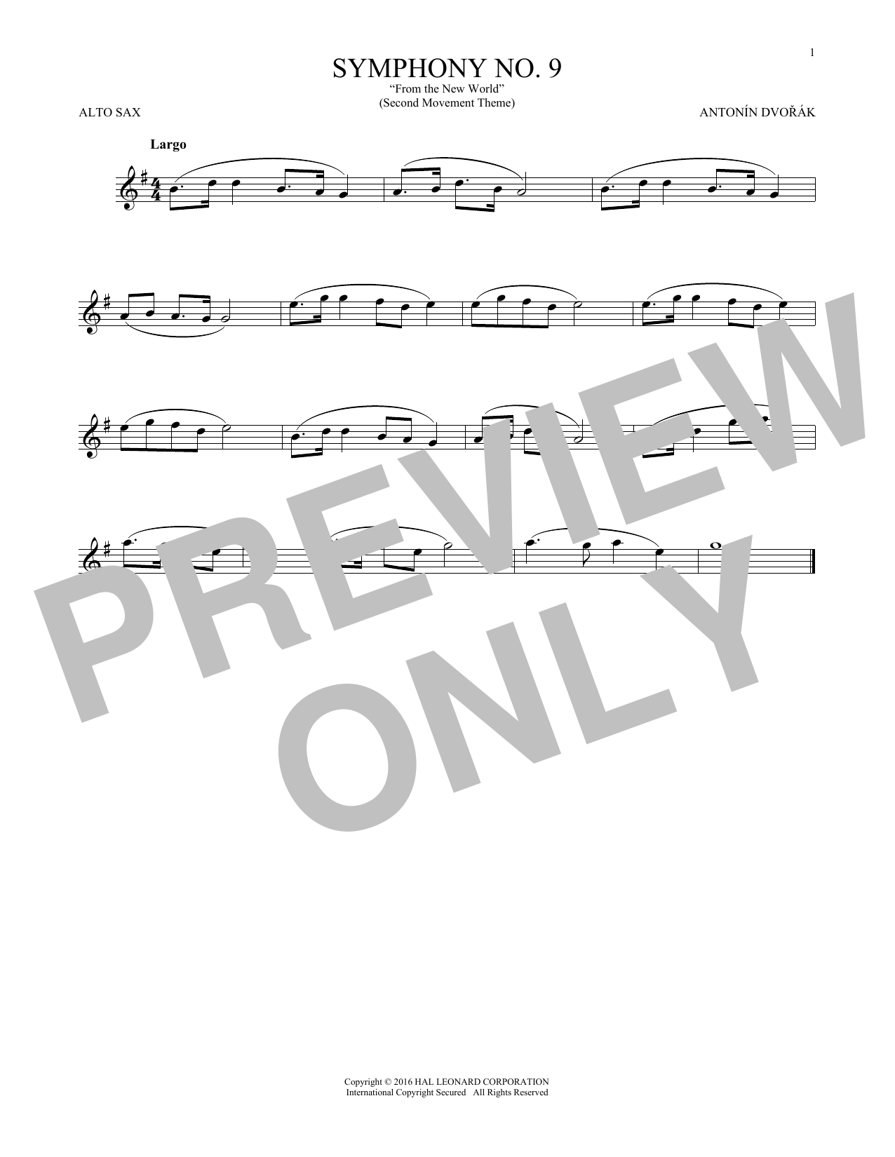 """Largo From Symphony No. 9 (""""New World"""") (Alto Sax Solo)"""